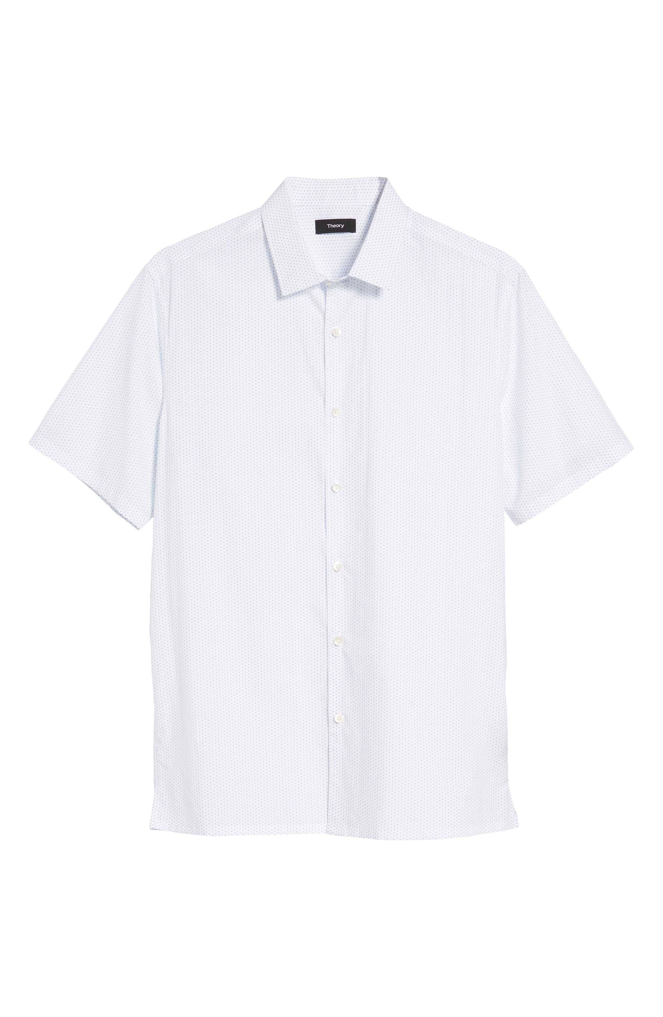 Murrary Trim Fit Dot Short Sleeve Sport Shirt,                             Alternate thumbnail 6, color,                             100