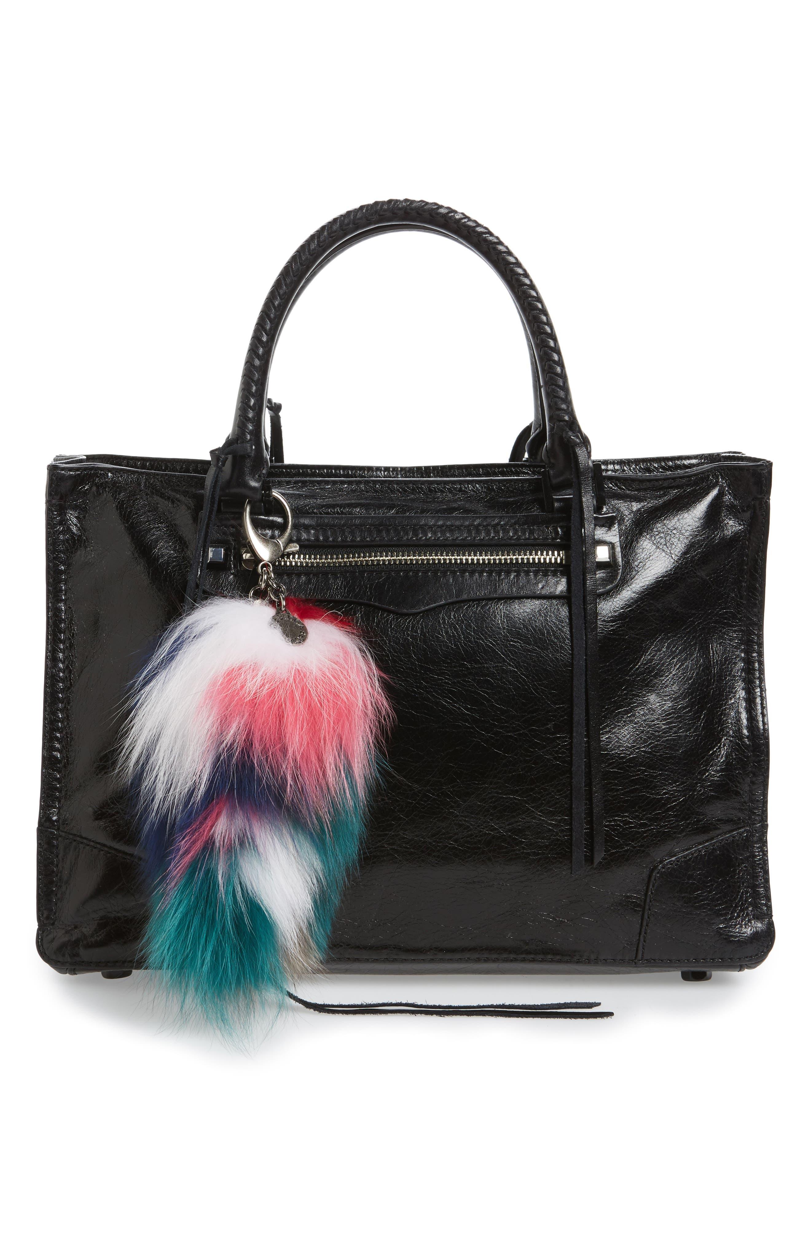 Genuine Fox Tail Fur Bag Charm,                             Alternate thumbnail 4, color,