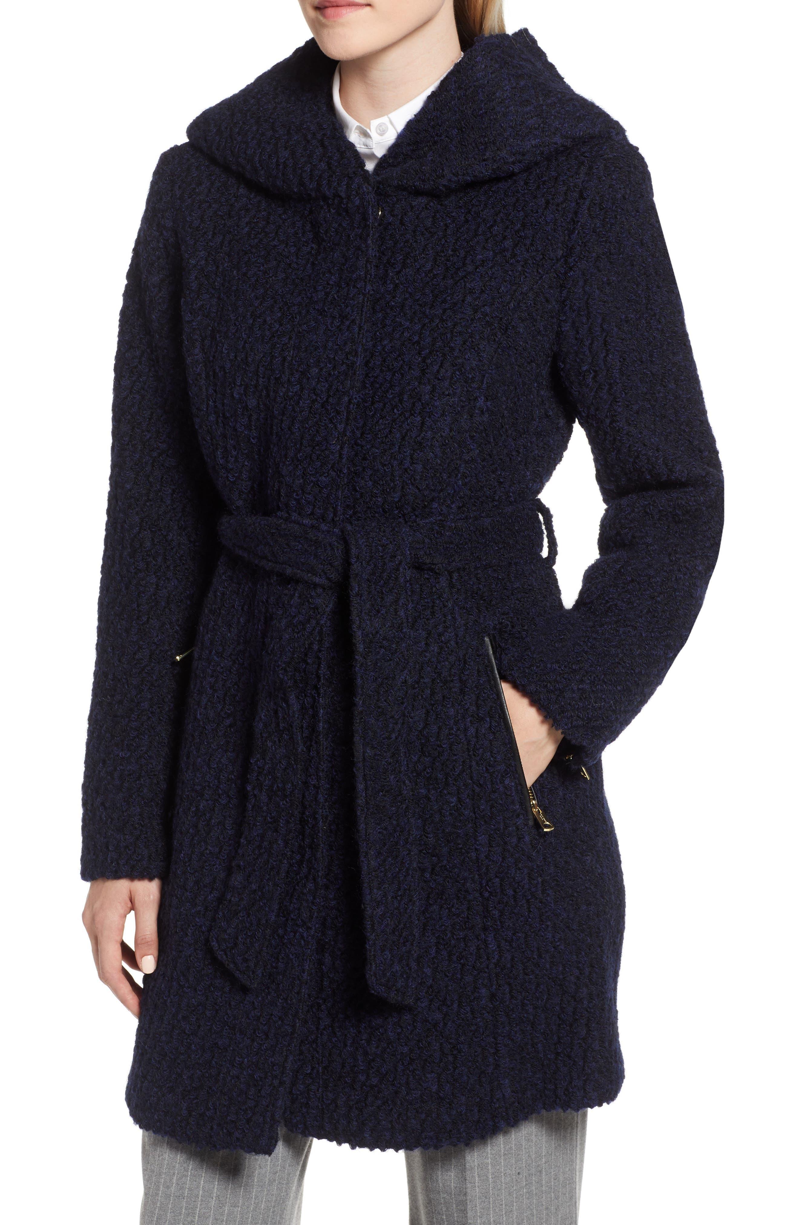Belted Bouclé Wool Blend Coat,                             Alternate thumbnail 4, color,                             BLACK/ NAVY