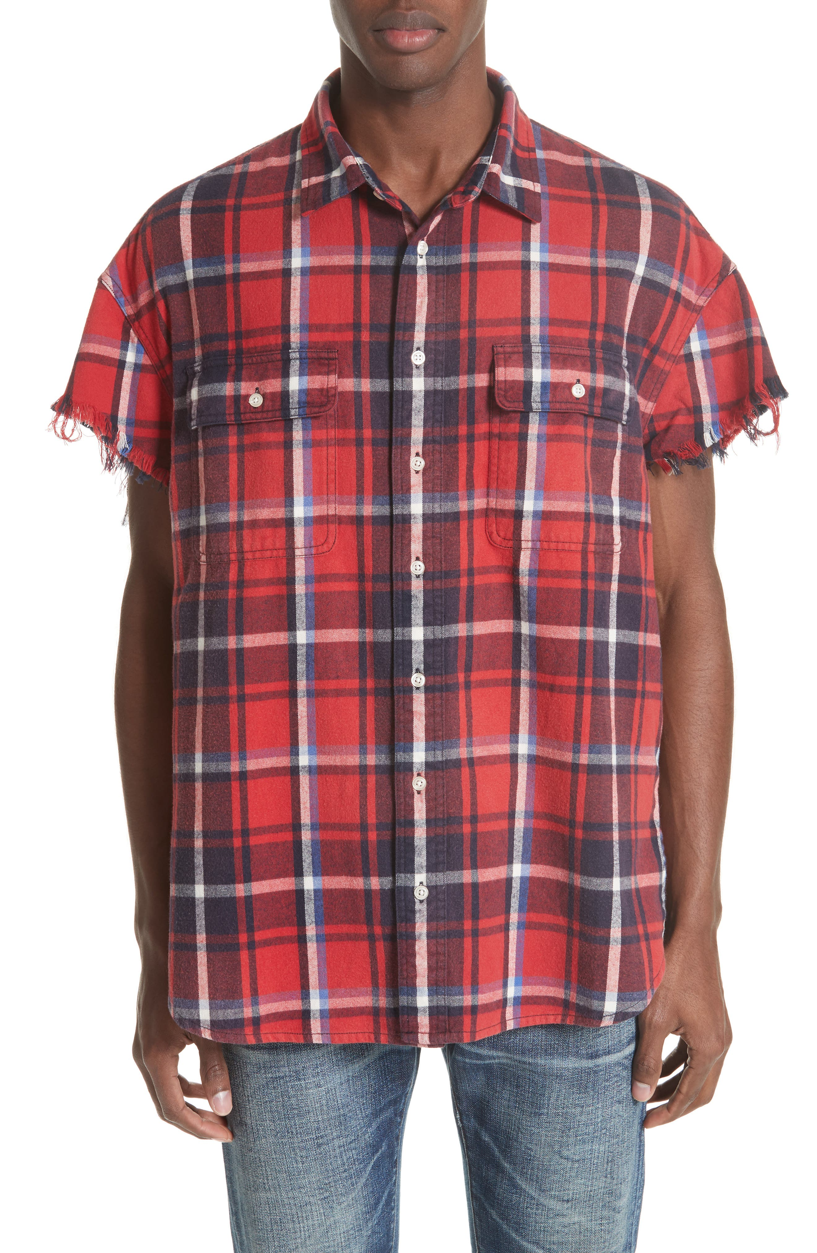 Oversize Cut Off Flannel Shirt,                         Main,                         color, RED