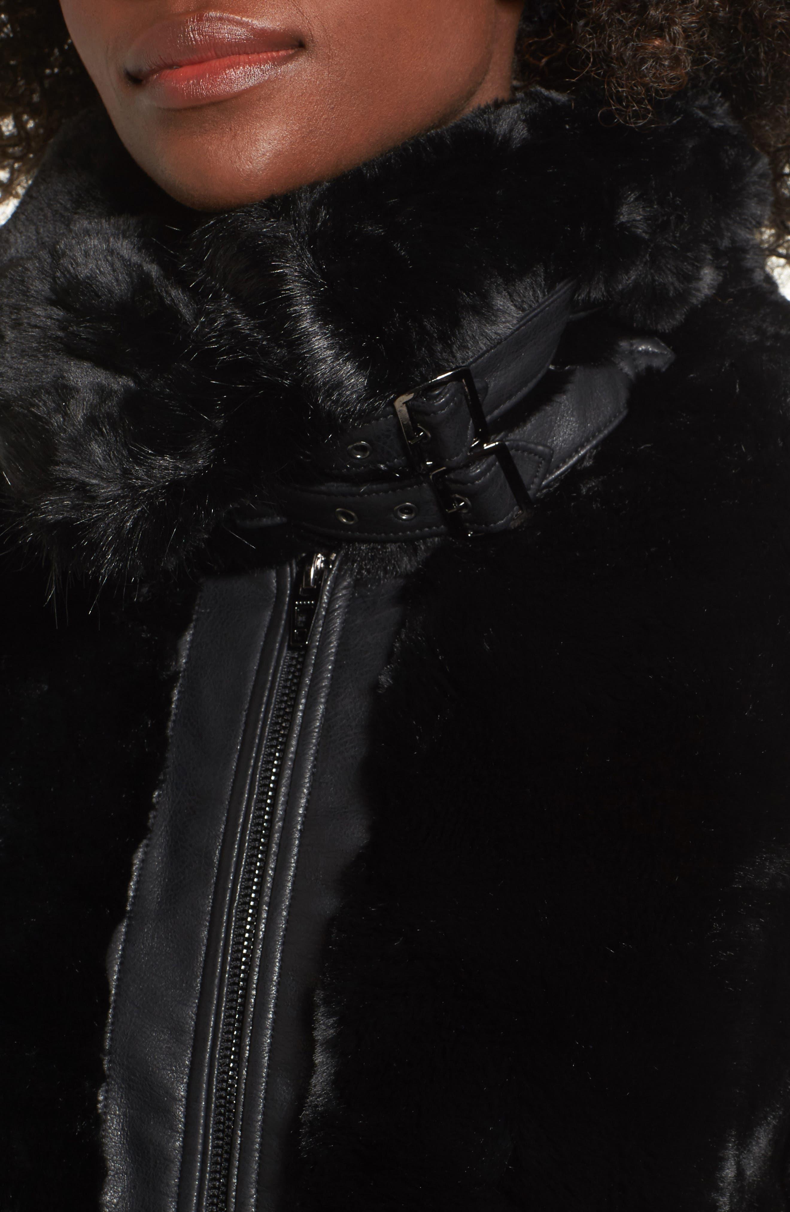 Faux Fur Jacket,                             Alternate thumbnail 4, color,                             BLACK NOISE