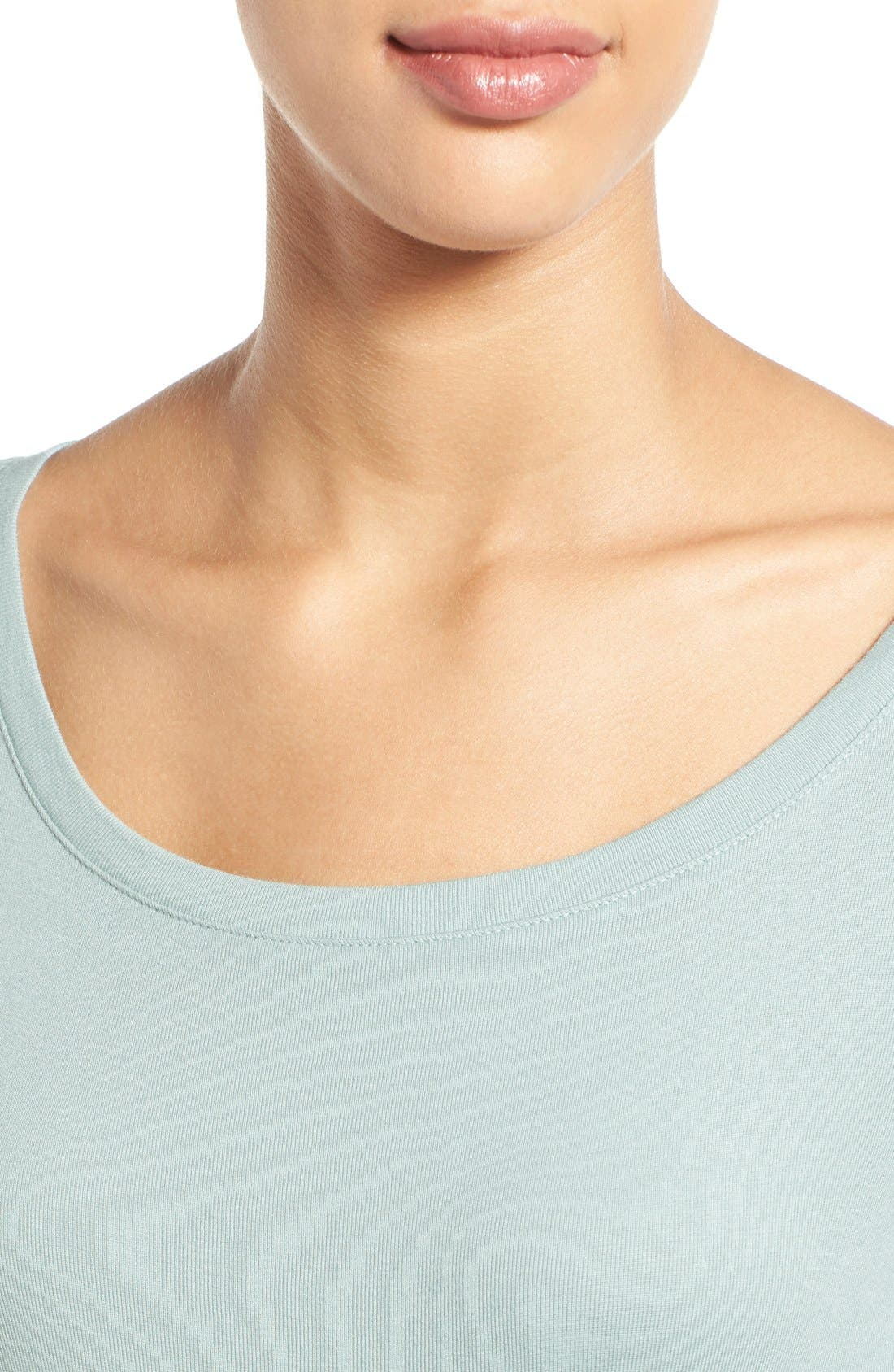 Ballet Neck Cotton & Modal Knit Elbow Sleeve Tee,                             Alternate thumbnail 141, color,