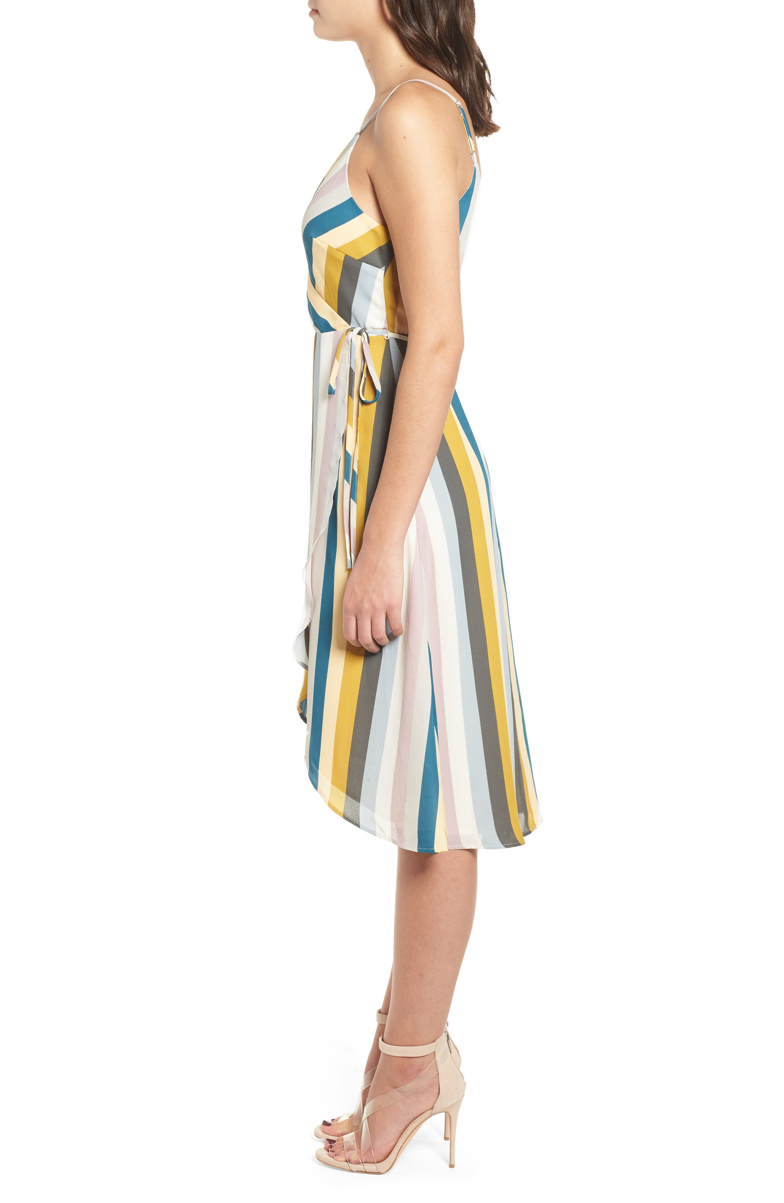 Stripe Wrap Dress,                             Alternate thumbnail 3, color,                             720
