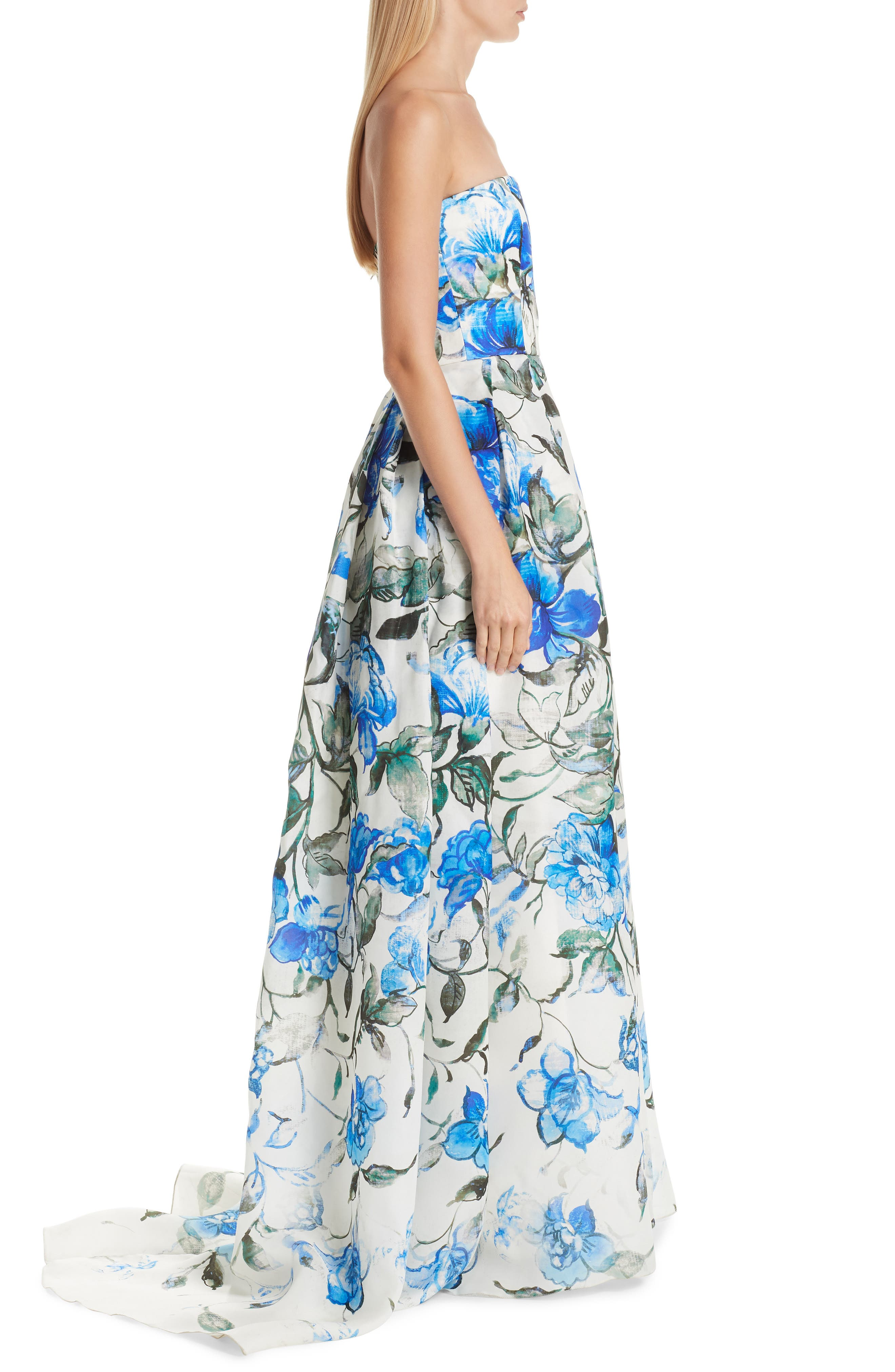 Floral Strapless Silk Evening Dress,                             Alternate thumbnail 3, color,                             PERSIAN BLUE MULTI