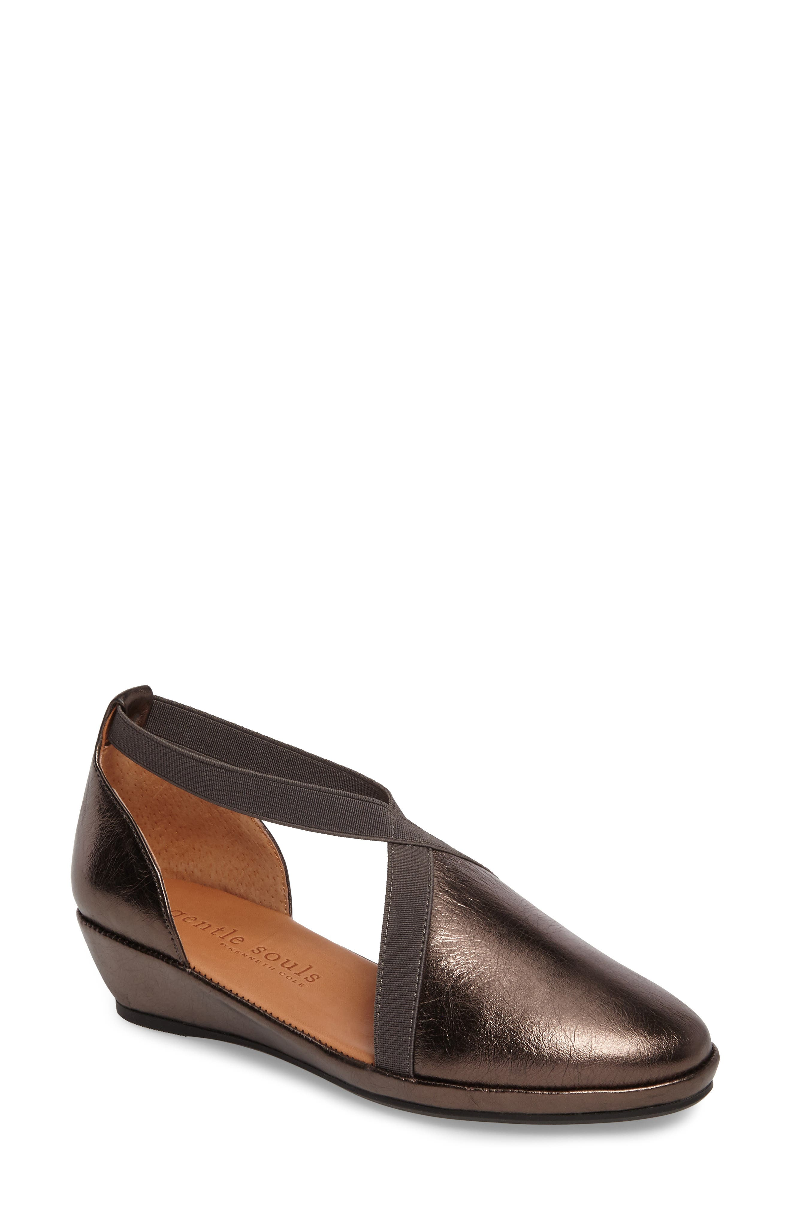 by Kenneth Cole Natalia Wedge,                             Main thumbnail 1, color,                             PEWTER LEATHER
