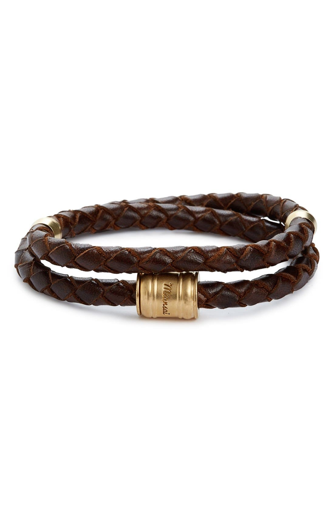 Braided Leather Bracelet,                             Main thumbnail 6, color,