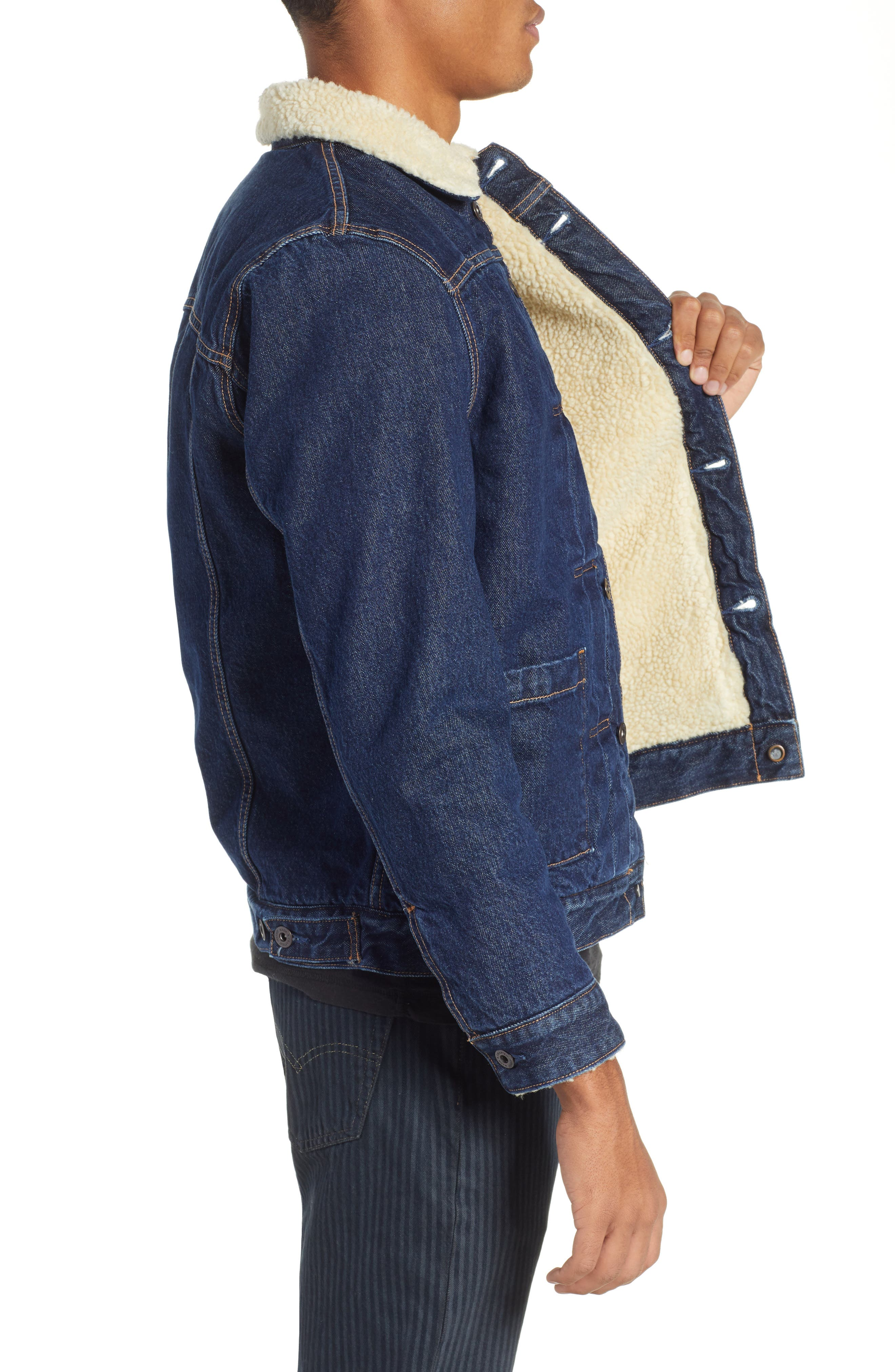 Levi's Made & Crafted<sup>™</sup> Faux Shearling Lined Denim Jacket,                             Alternate thumbnail 3, color,                             CANYON