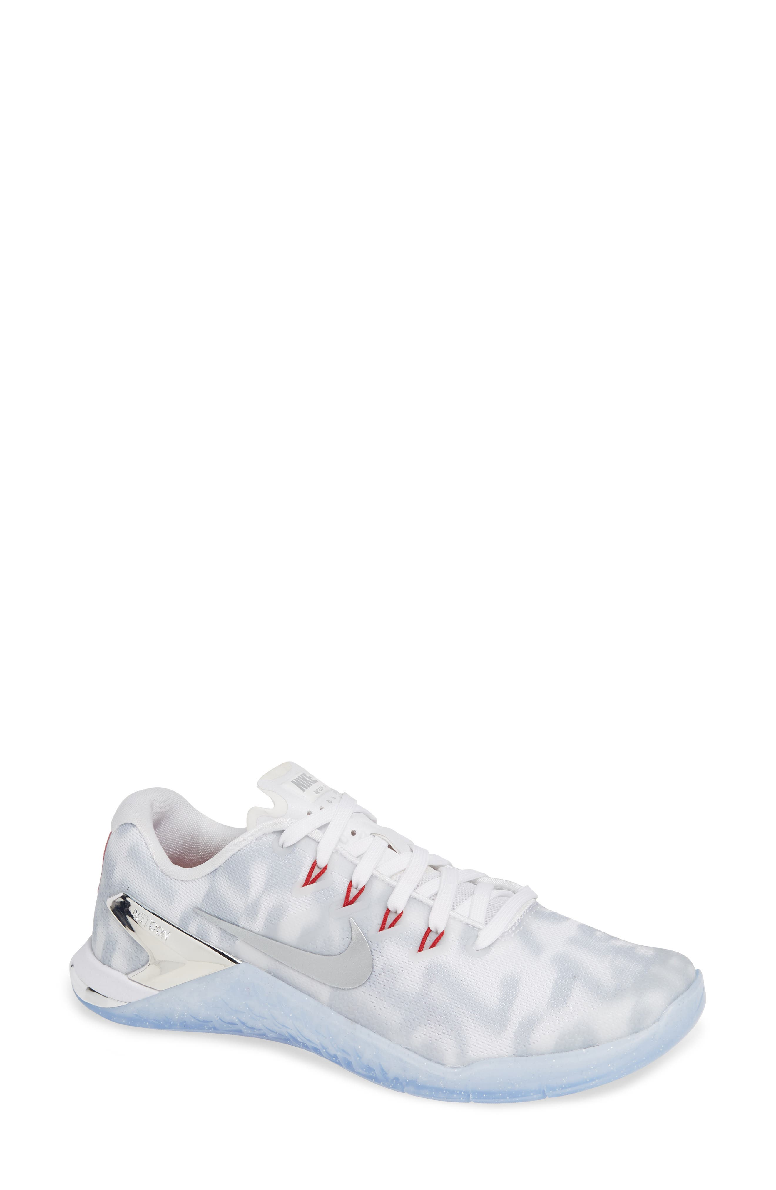 Metcon 4 Training Shoe,                         Main,                         color, WHITE METALLIC SILVER/ GYM RED