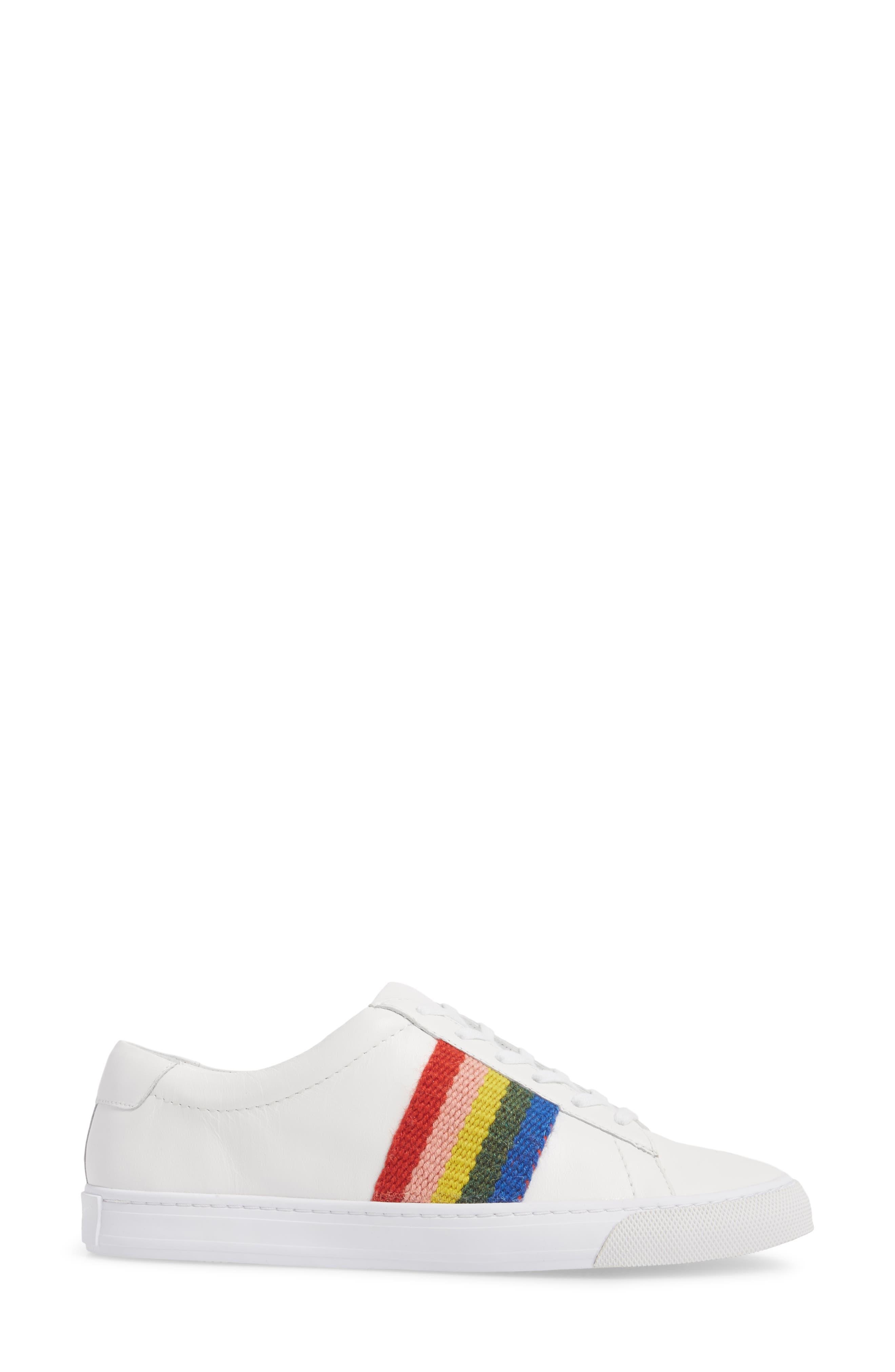Logan Rainbow Sneaker,                             Alternate thumbnail 3, color,                             WHITE/ RAINBOW