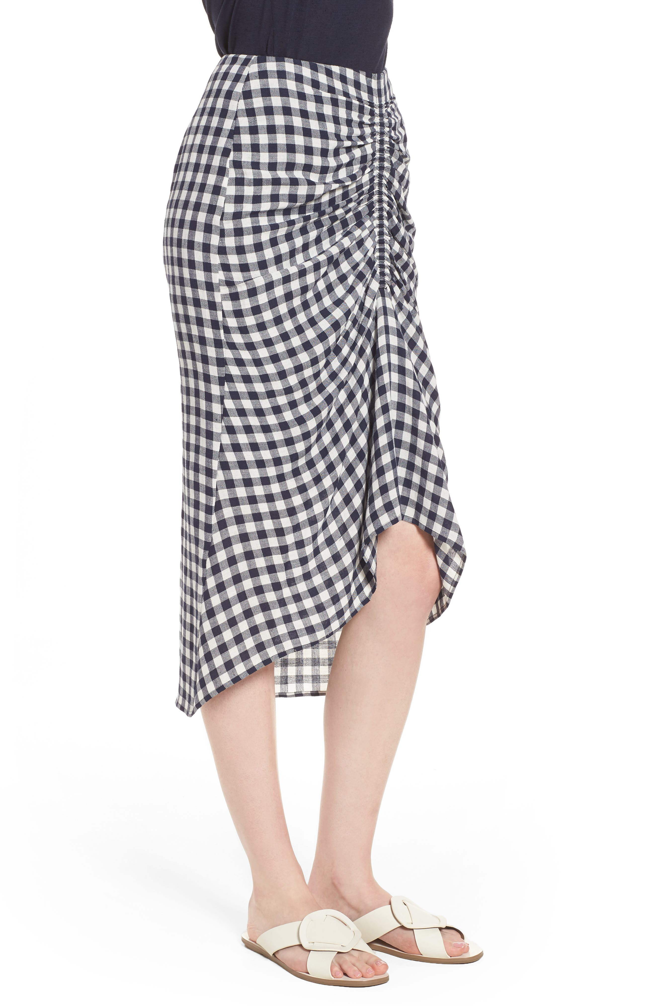 Ruched Front Gingham Skirt,                             Alternate thumbnail 3, color,                             NAVY NIGHT- WHITE CHECK