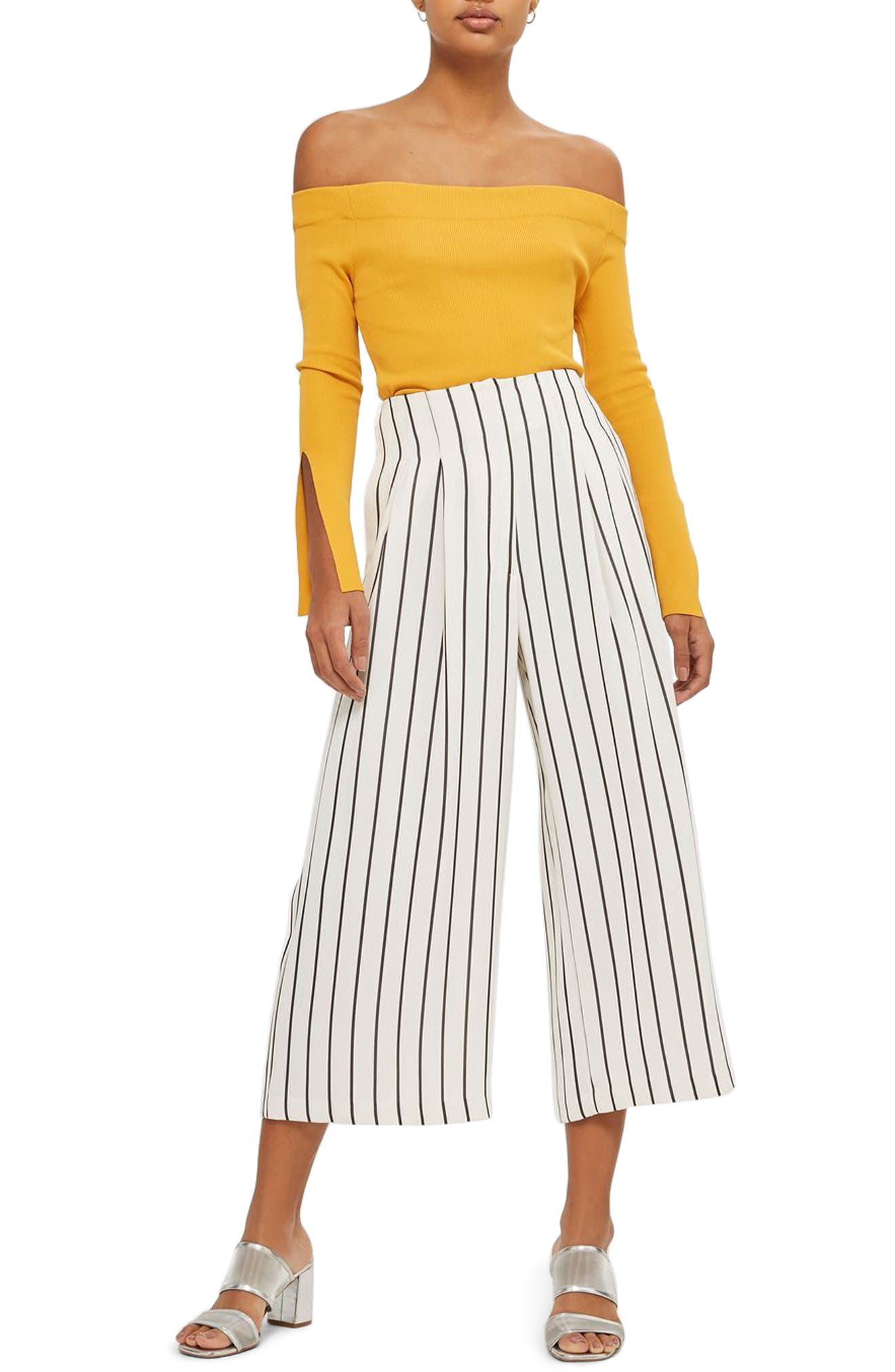 Stripe Crop Wide Leg Trousers,                             Main thumbnail 1, color,                             001
