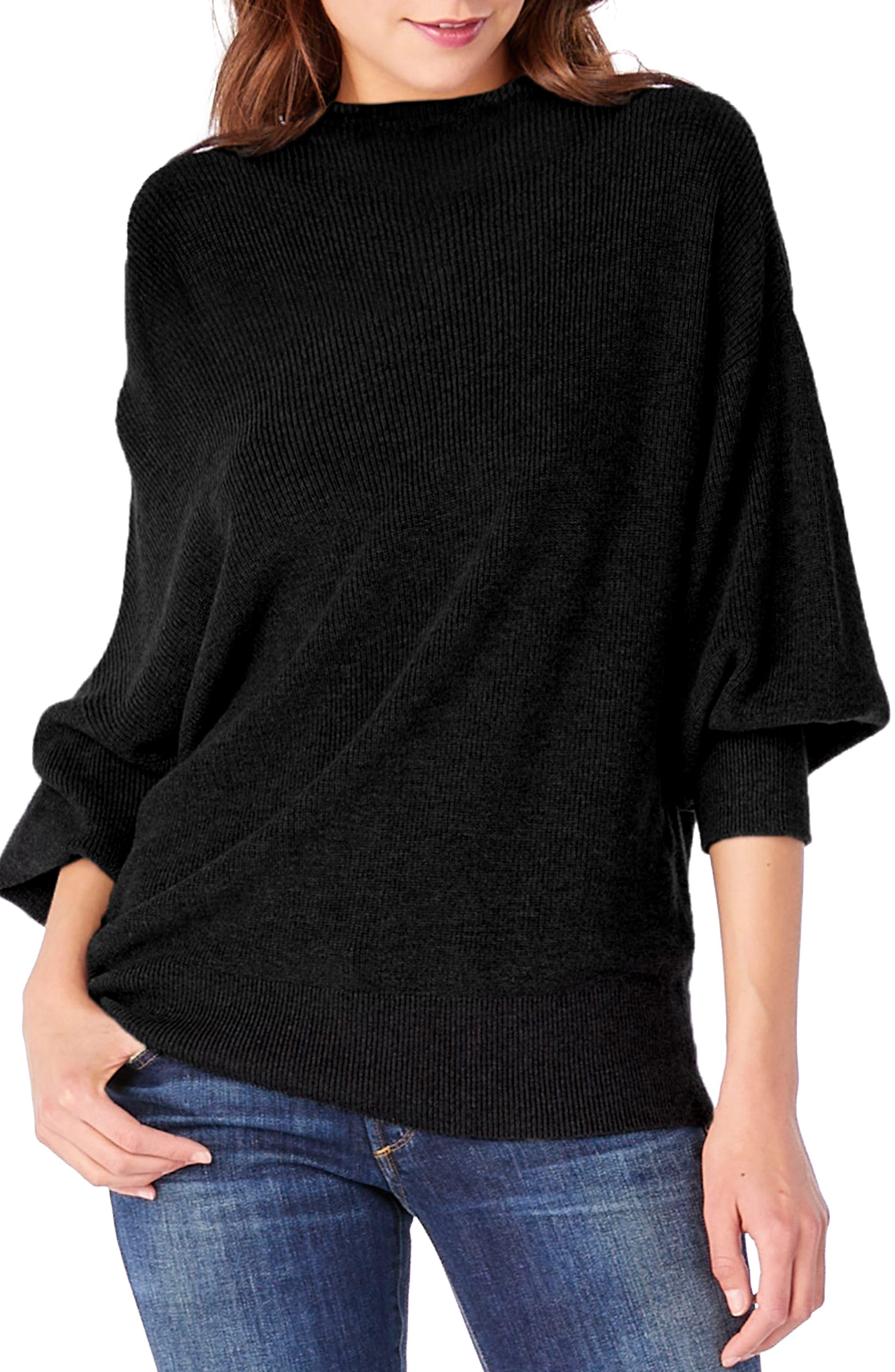 Mock Neck Dolman Sleeve Pullover,                             Main thumbnail 1, color,                             001