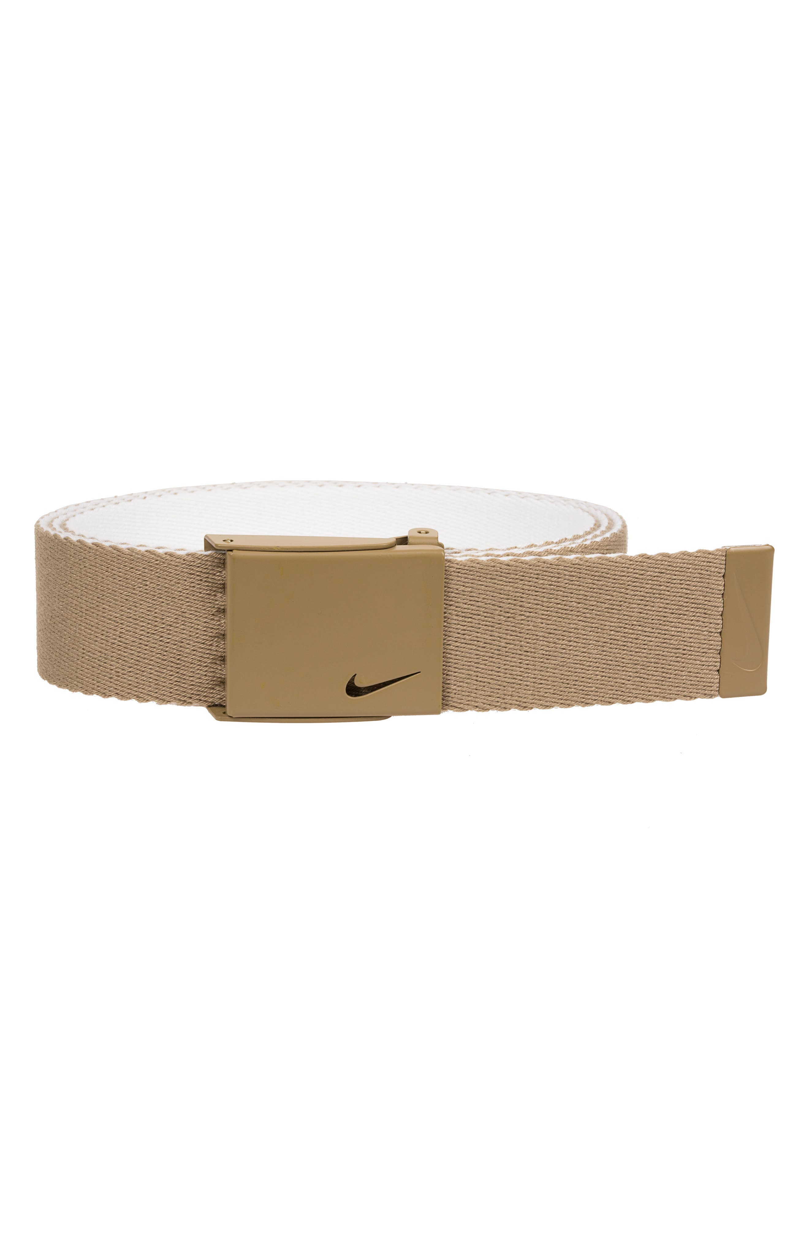 Essentials Reversible Webbed Belt,                         Main,                         color, KHAKI/ WHITE