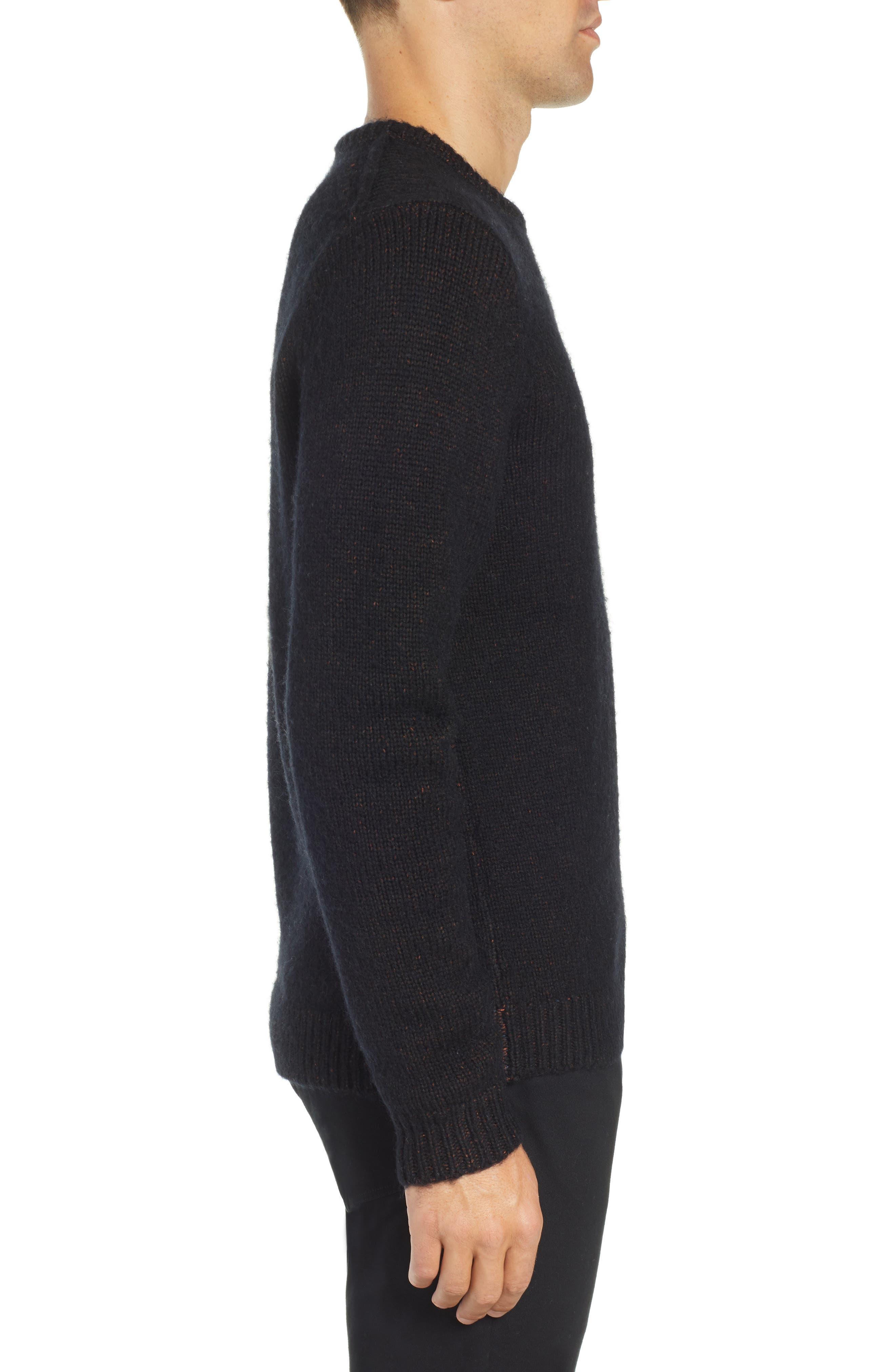 Chunky Crewneck Sweater,                             Alternate thumbnail 3, color,                             BLACK CAVIAR TWIST