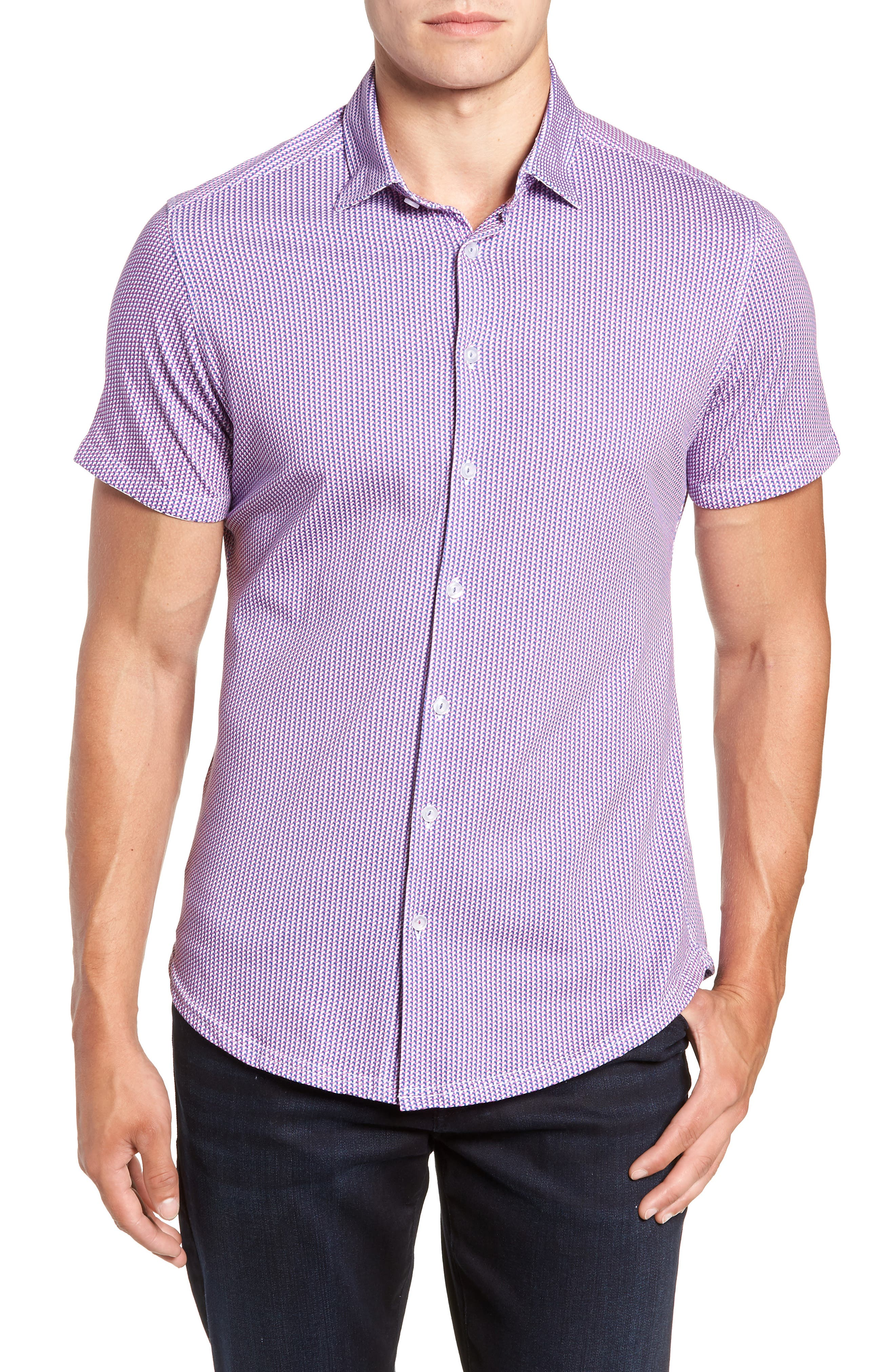 Regular Fit Geometric Print Knit Sport Shirt,                         Main,                         color, 650