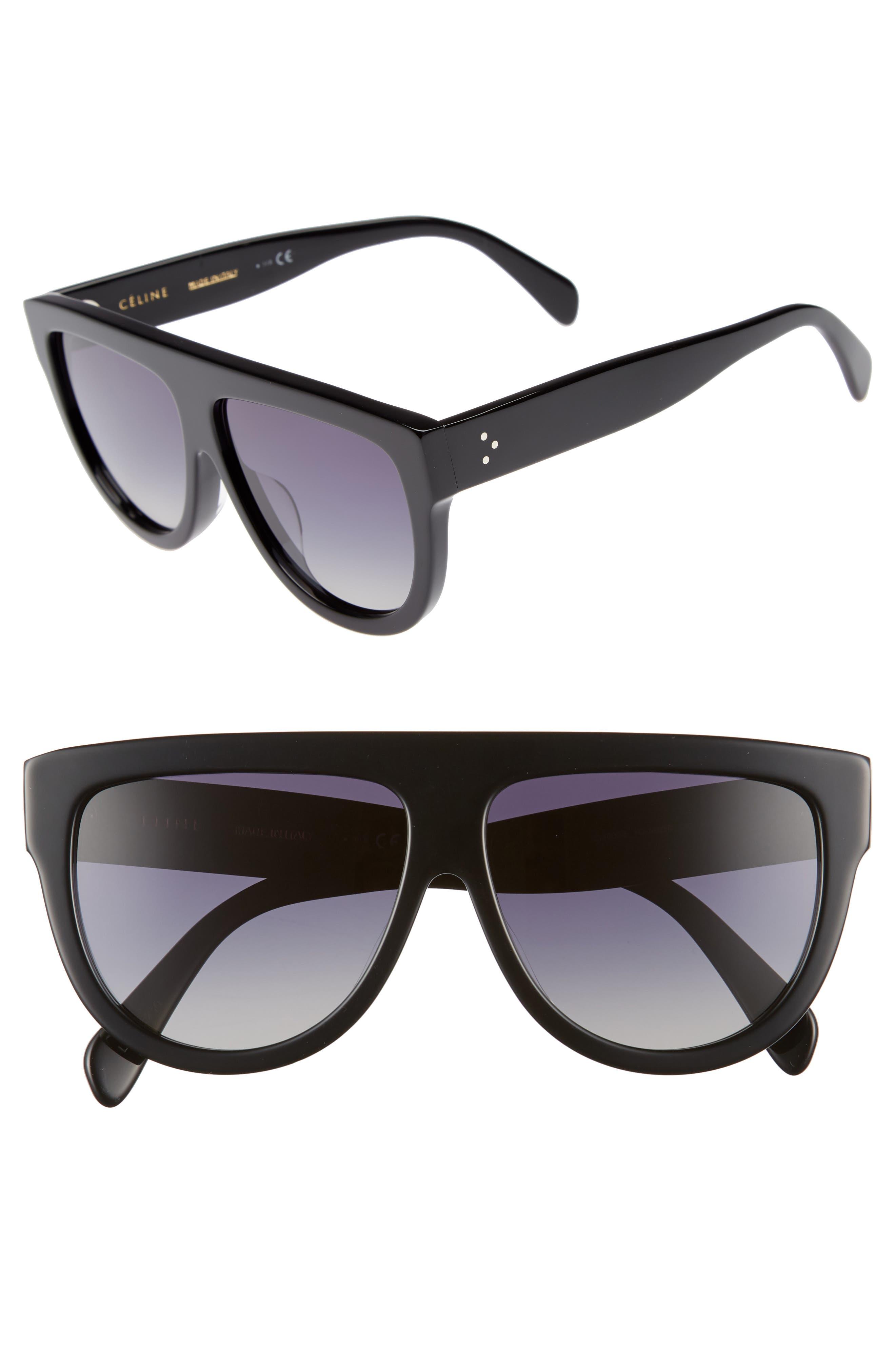 Special Fit 60mm Polarized Gradient Flat Top Sunglasses,                             Main thumbnail 1, color,                             BLACK/ GRADIENT SMOKE