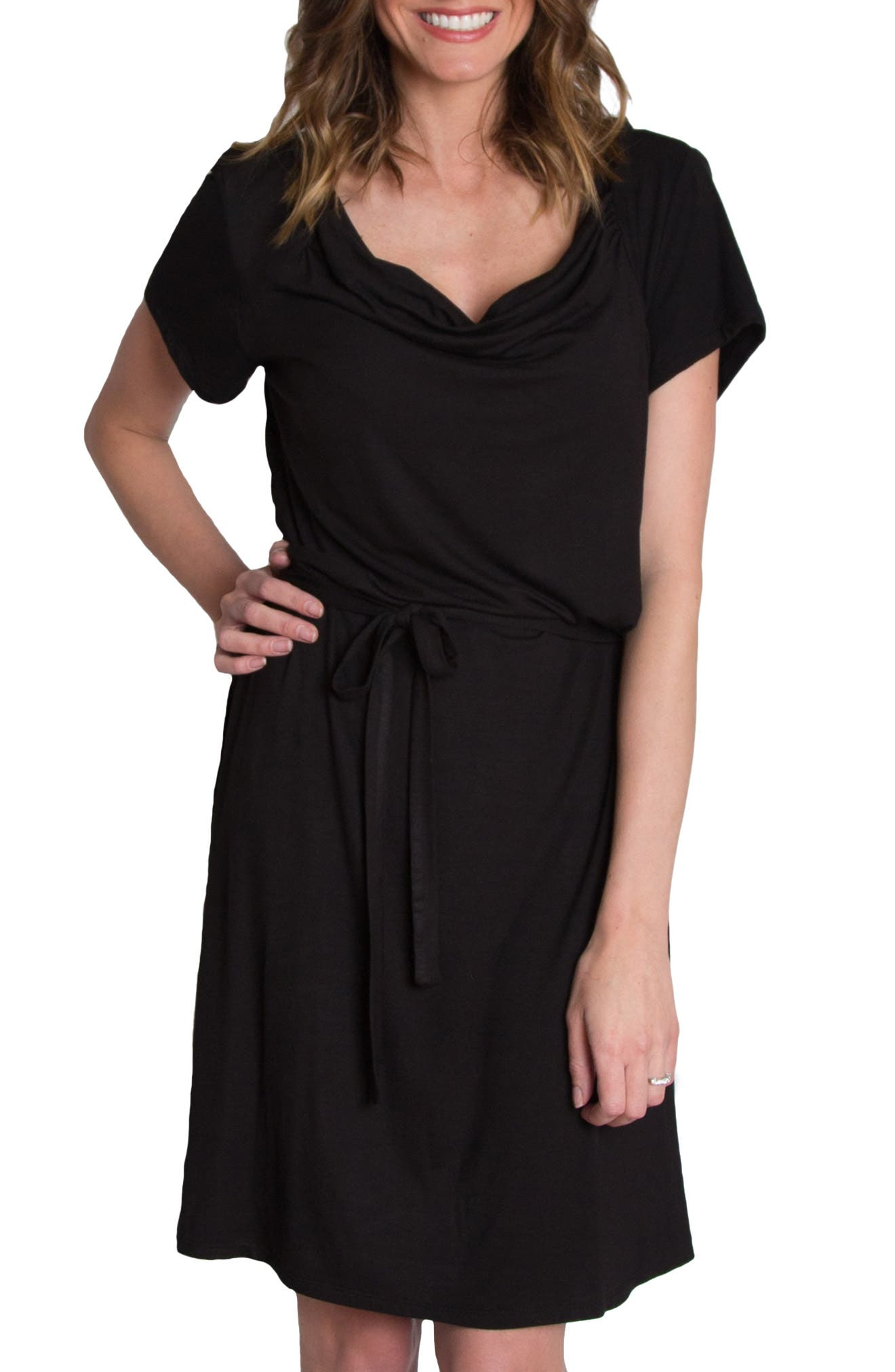 'Chic' Cowl Neck Nursing Dress,                             Alternate thumbnail 2, color,                             BLACK