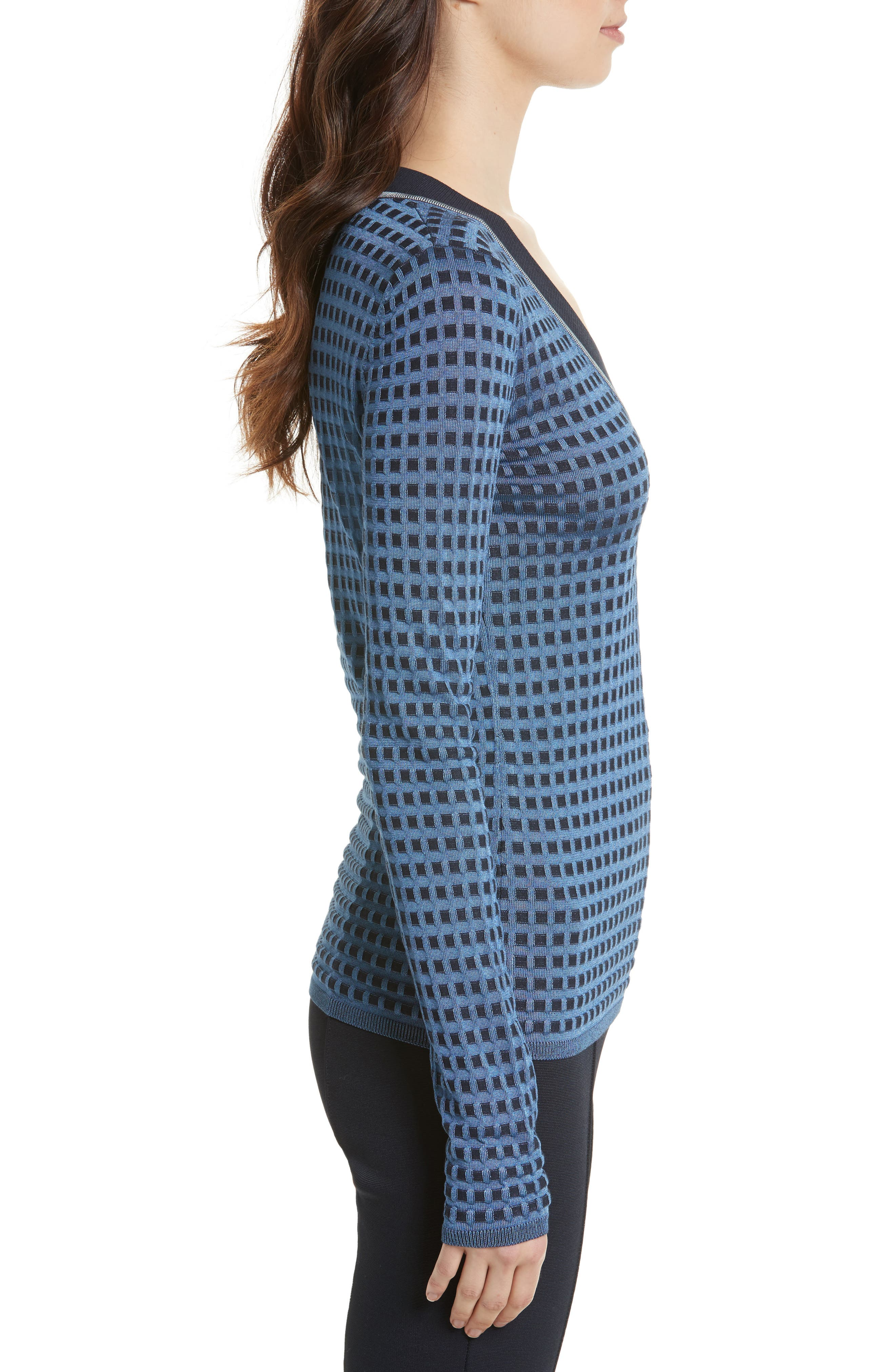 Banded V-Neck Sweater,                             Alternate thumbnail 3, color,                             409