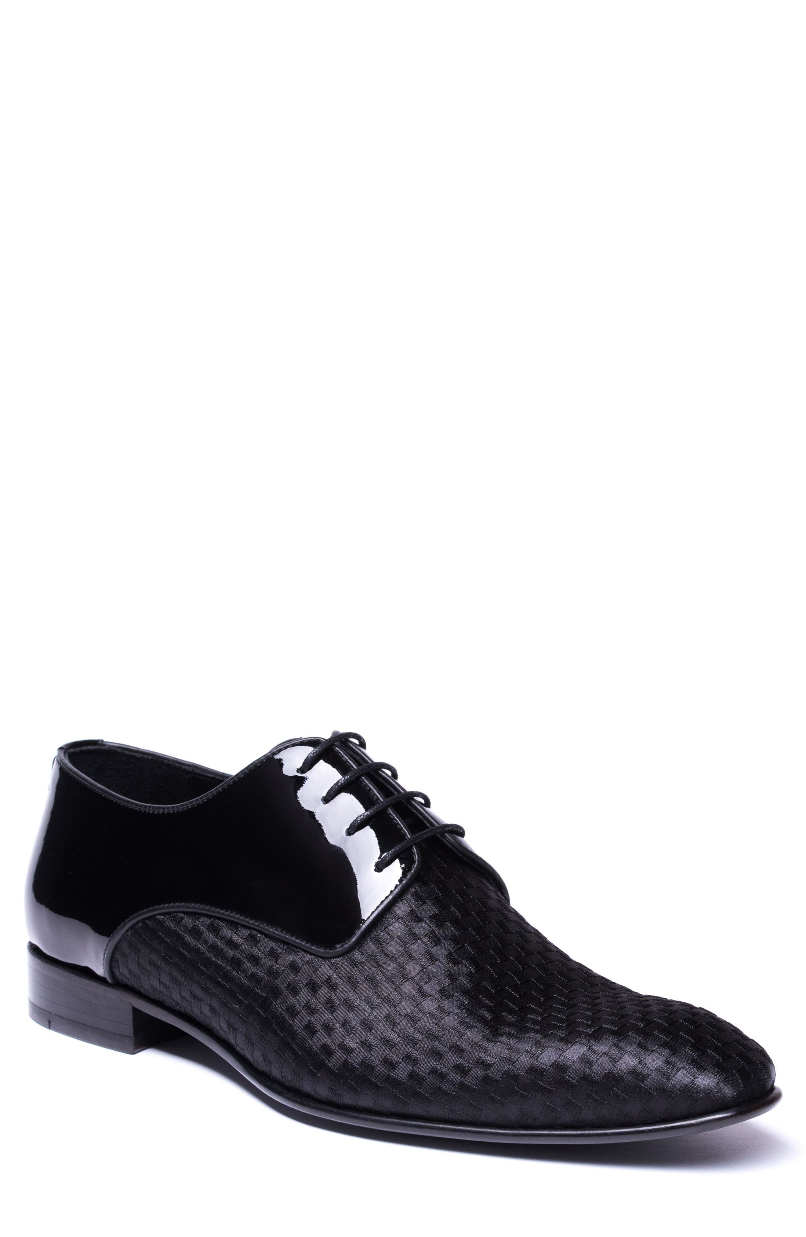 Marco Checkerboard Derby,                             Main thumbnail 1, color,                             BLACK LEATHER