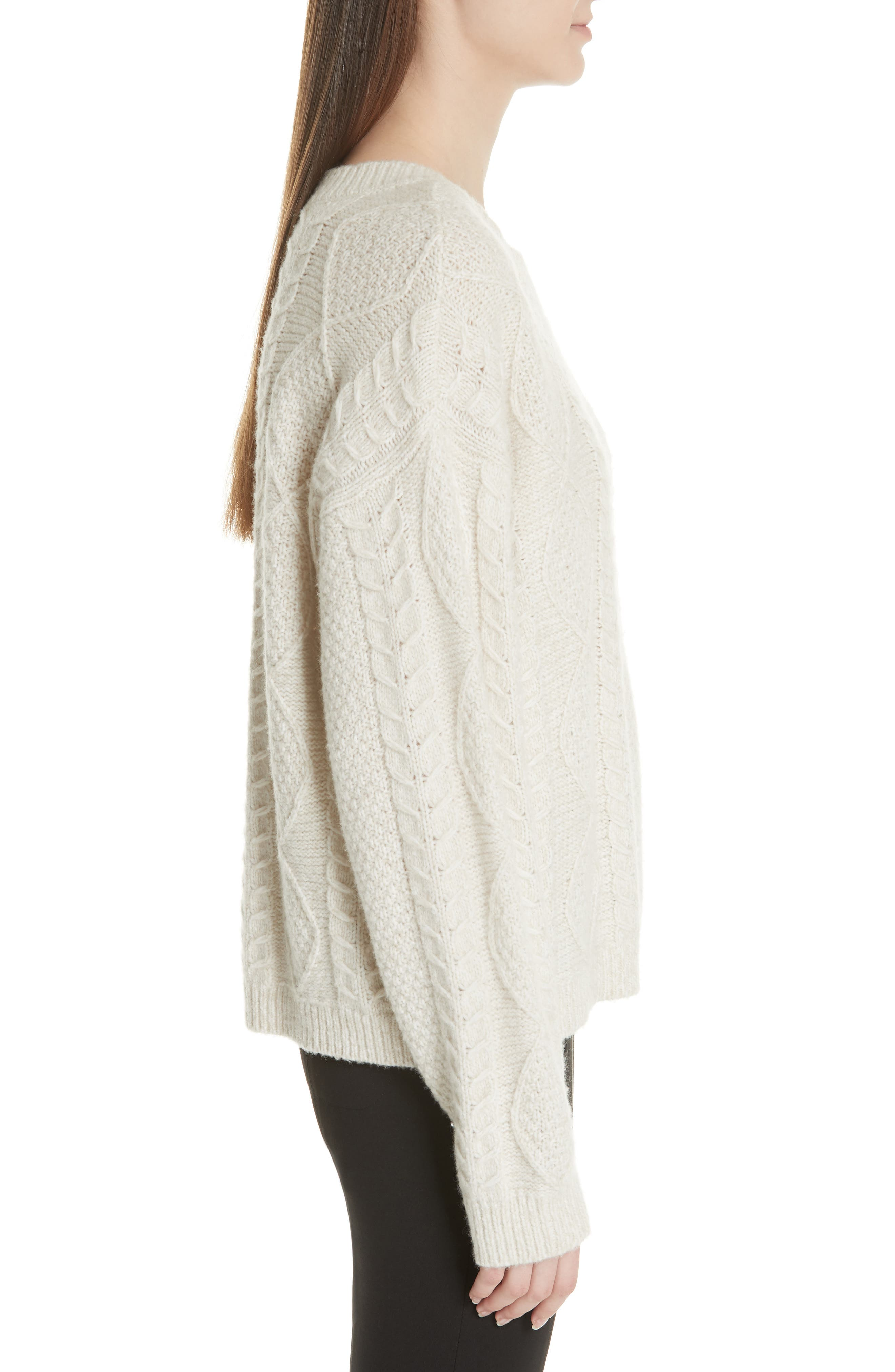 Wool & Cashmere Blend Cable Knit Sweater,                             Alternate thumbnail 3, color,                             901