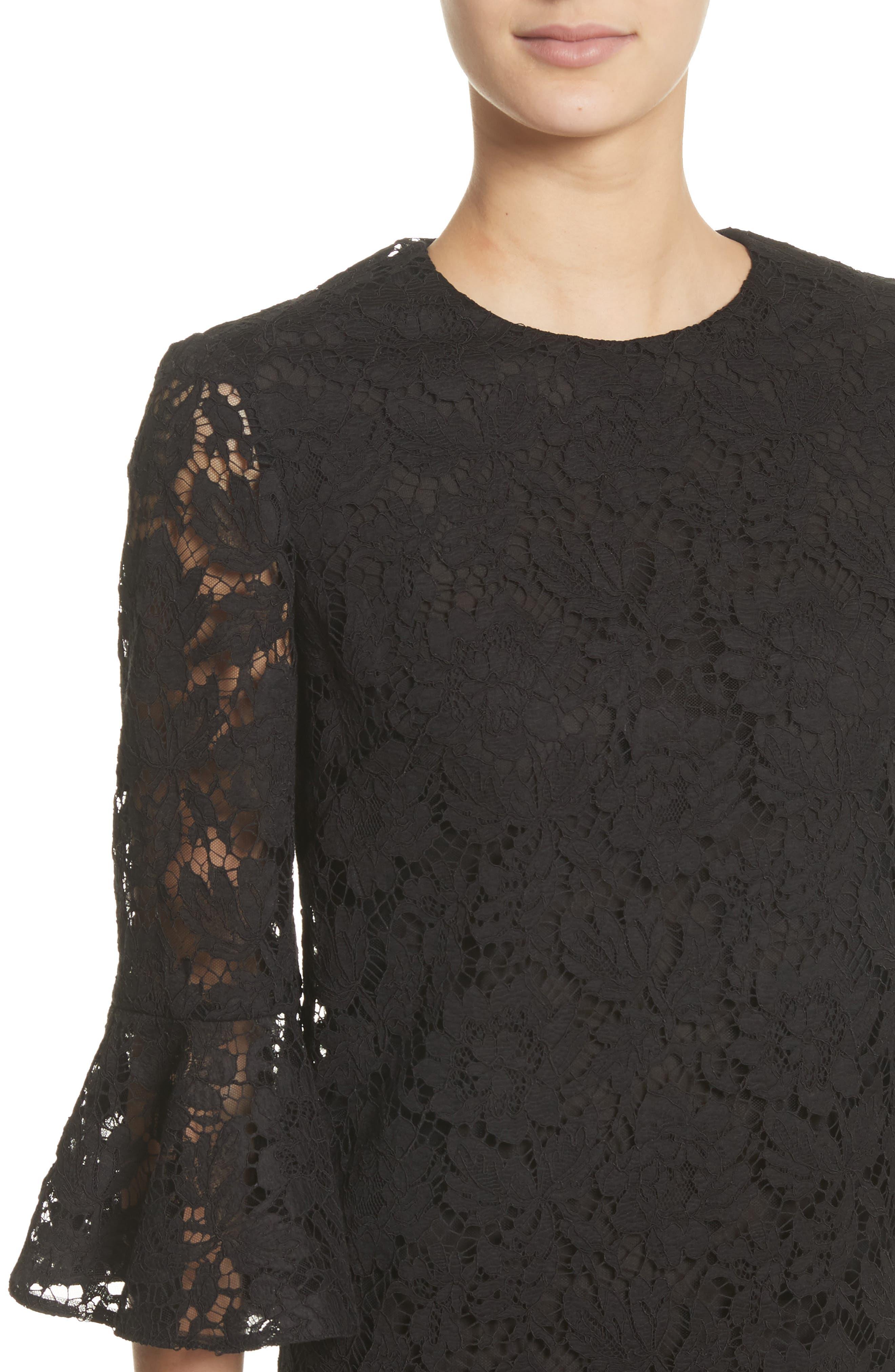 Lace Bell Sleeve Dress,                             Alternate thumbnail 4, color,                             BLACK