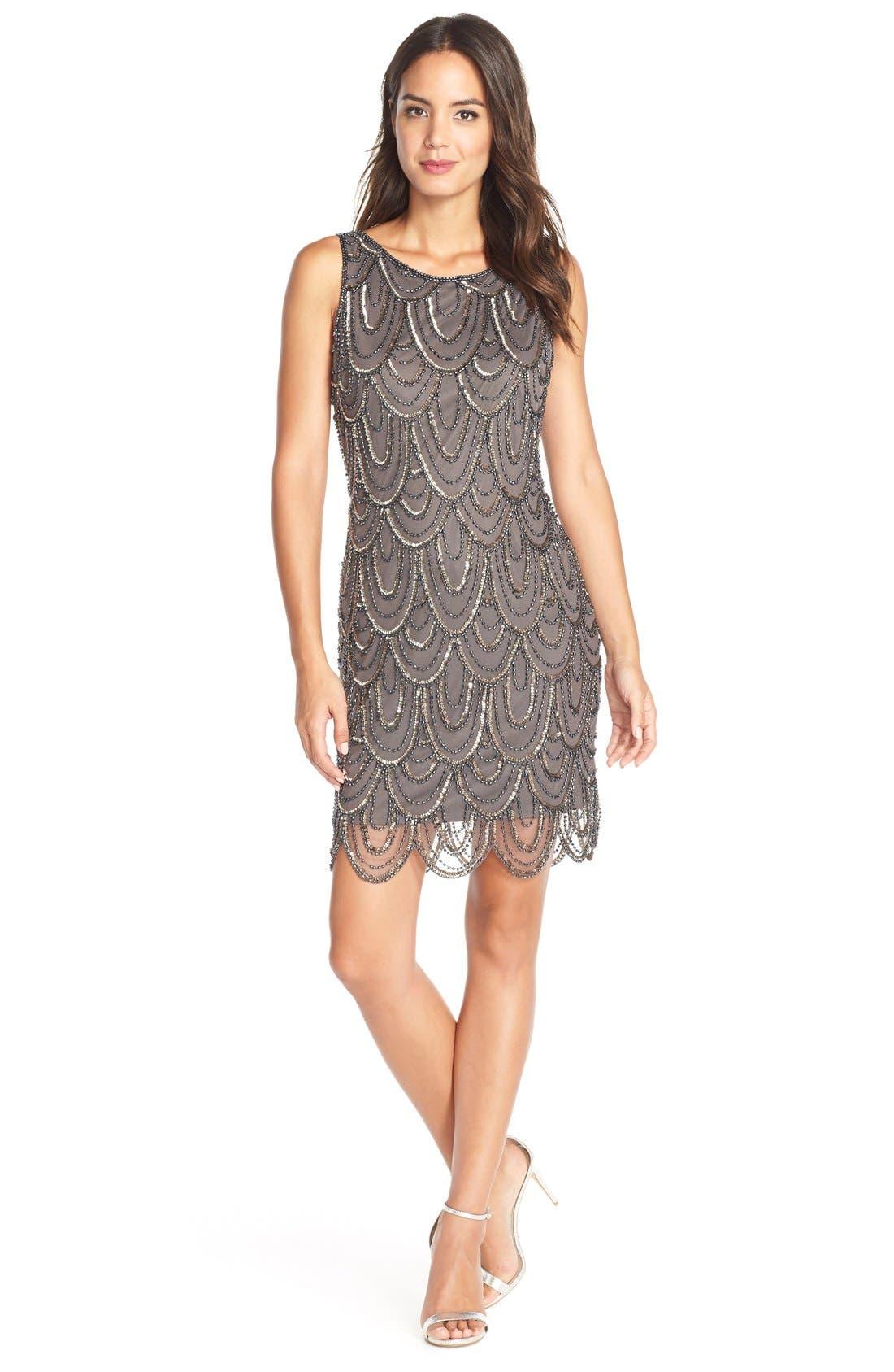 Embellished Mesh Sheath Dress,                             Main thumbnail 12, color,