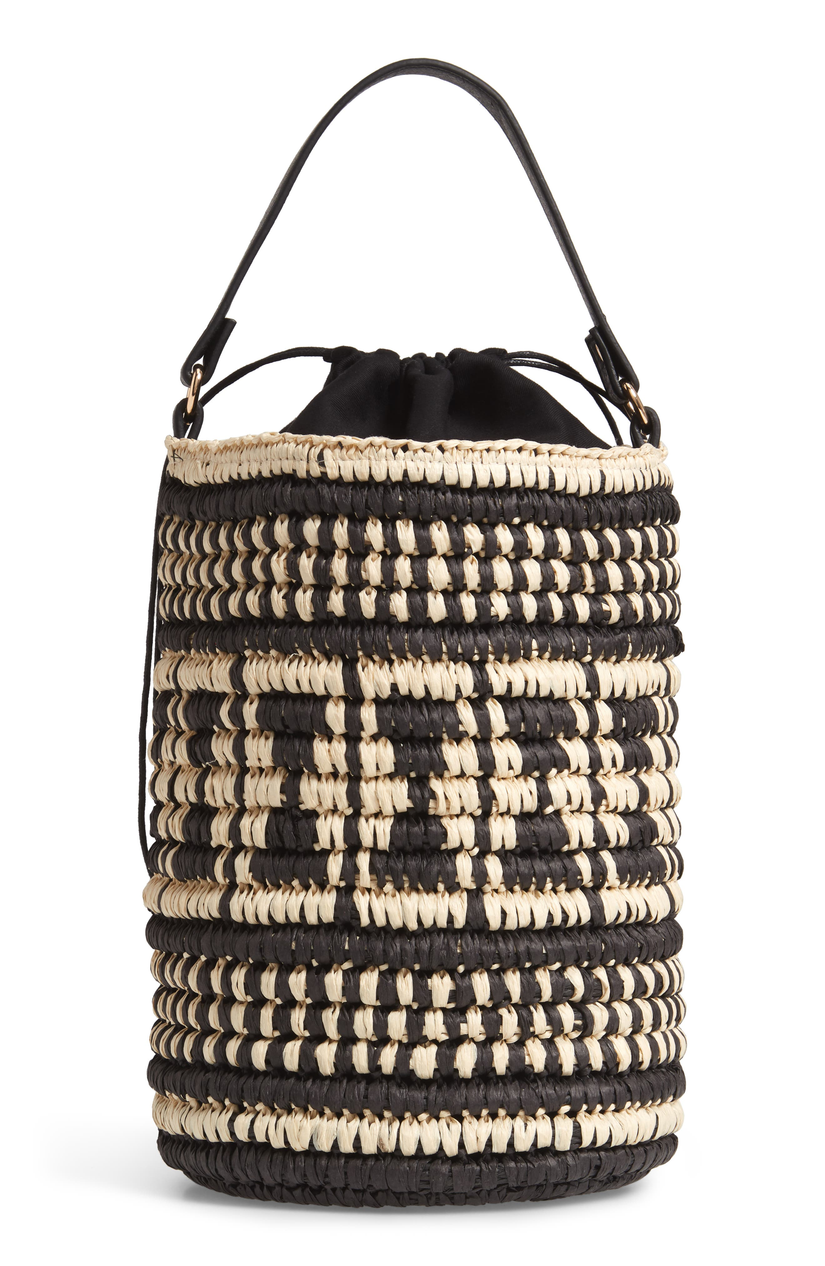 Talula Woven Raffia Bucket Bag,                             Alternate thumbnail 3, color,                             BLACK