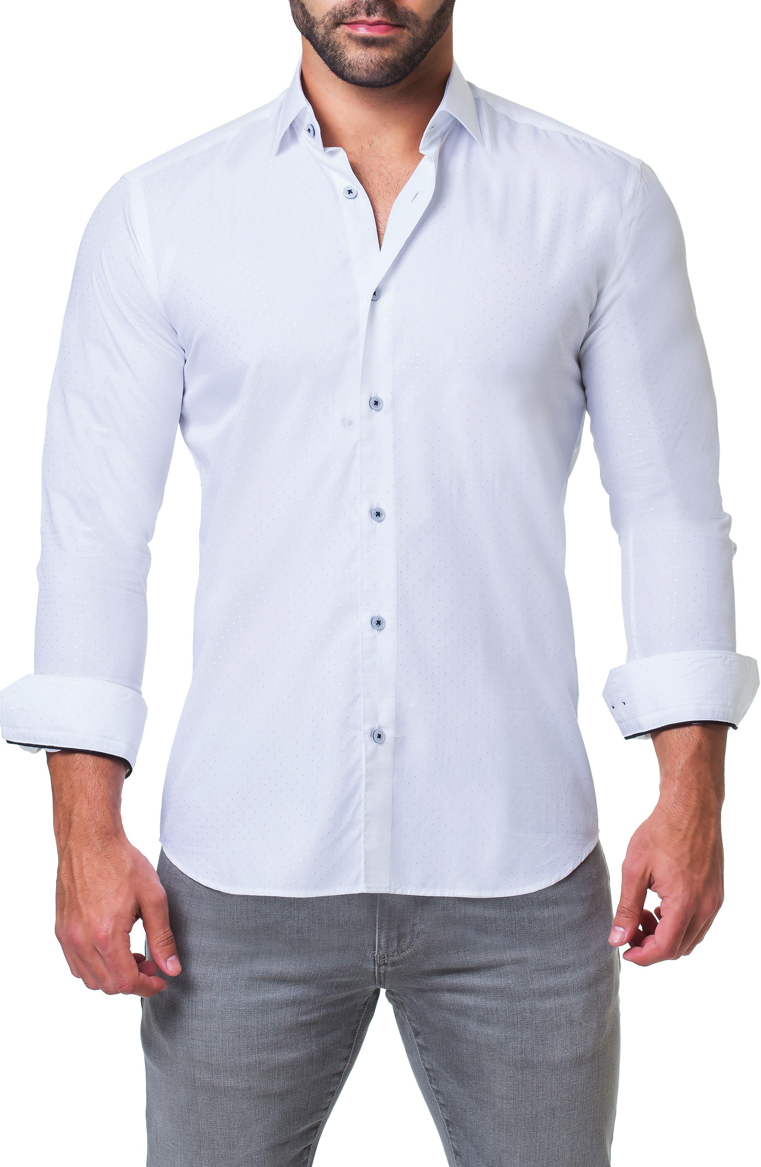 Fibonacci Trim Fit Sparkle Dot Sport Shirt,                             Alternate thumbnail 4, color,                             WHITE
