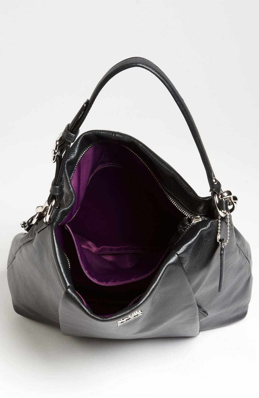 COACH,                             'New Madison - Isabelle' Leather Shoulder Bag,                             Alternate thumbnail 4, color,                             001