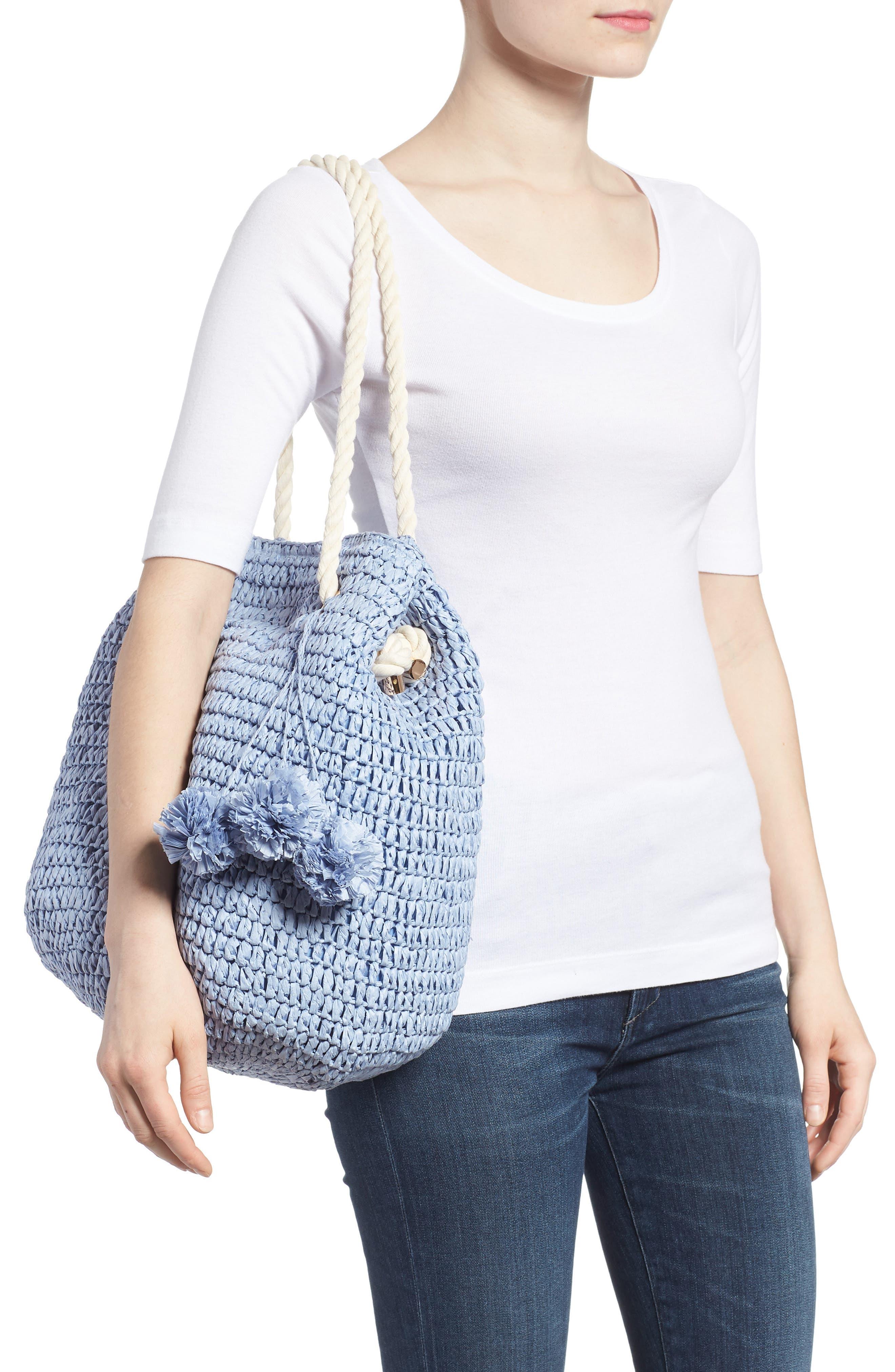 Mama Straw Bucket Bag,                             Alternate thumbnail 4, color,