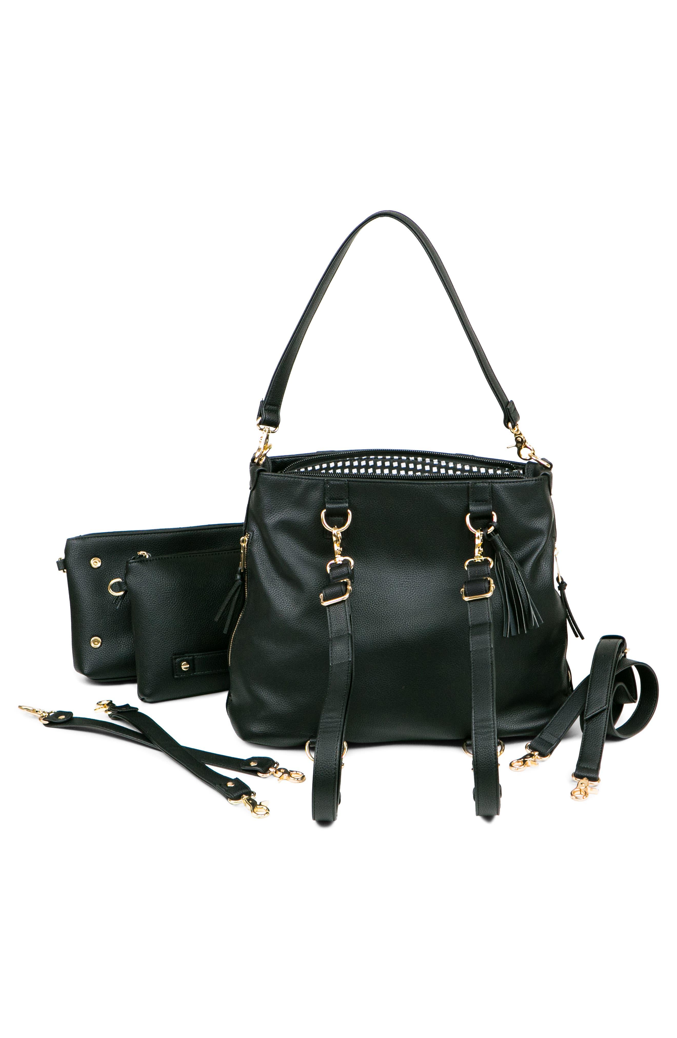 Boss Convertible Diaper Backpack,                             Alternate thumbnail 5, color,                             BLACK