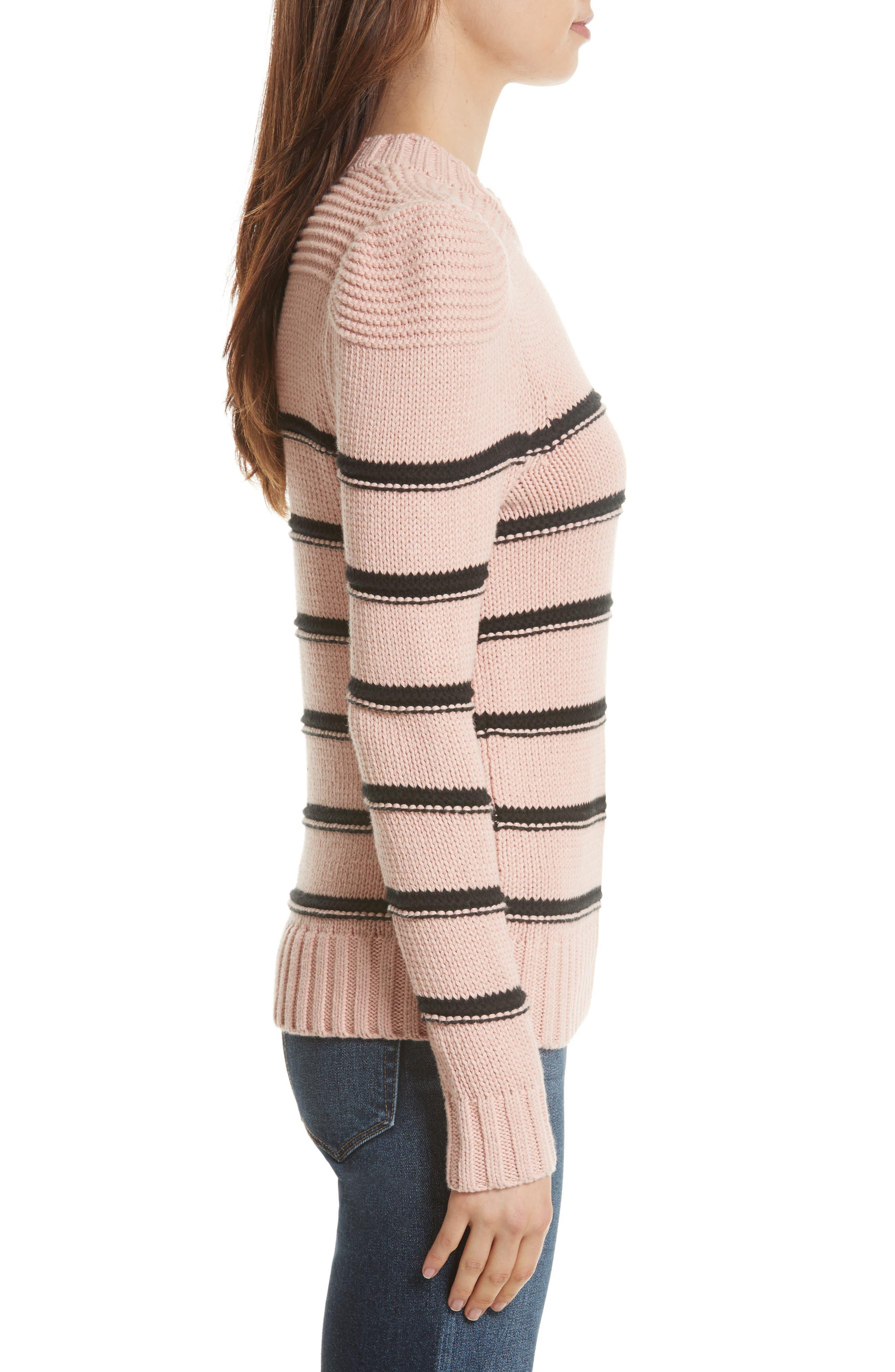 Stripe Cotton & Merino Wool Sweater,                             Alternate thumbnail 3, color,                             695