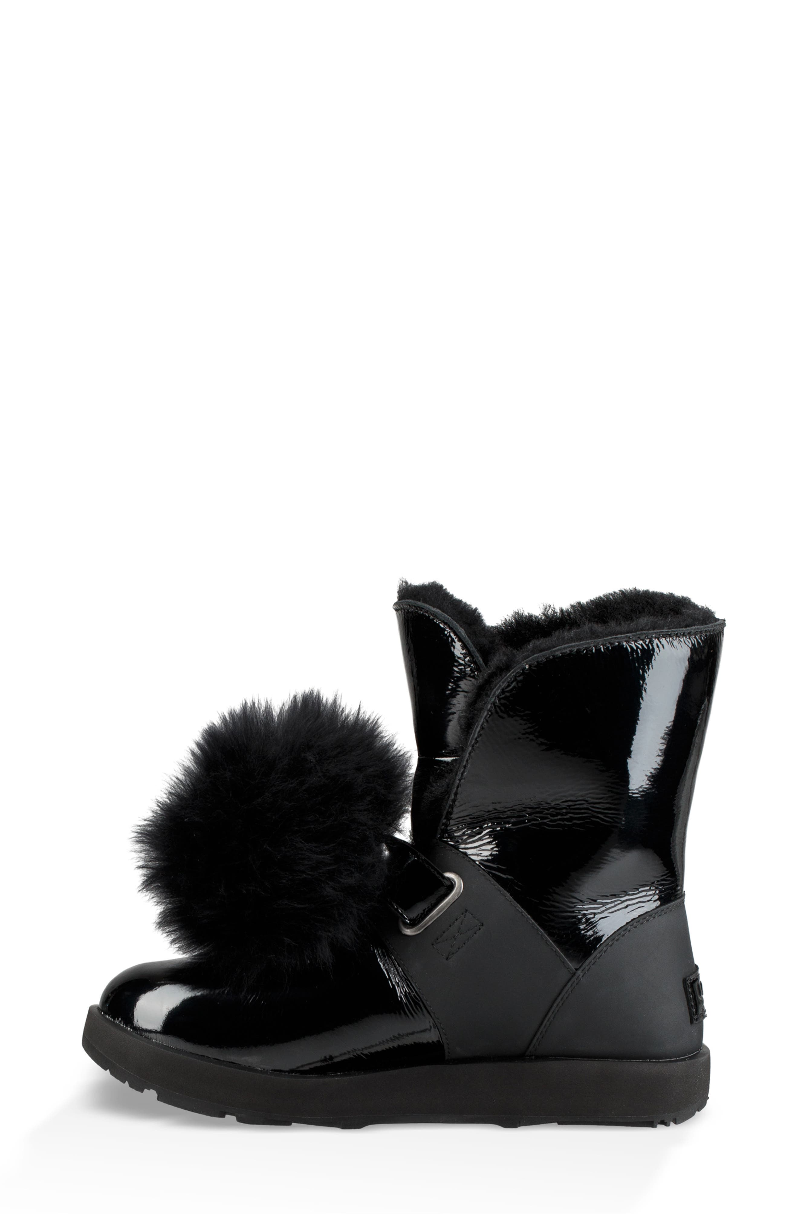 Isley Genuine Shearling Waterproof Patent Pom Bootie,                             Alternate thumbnail 6, color,                             BLACK