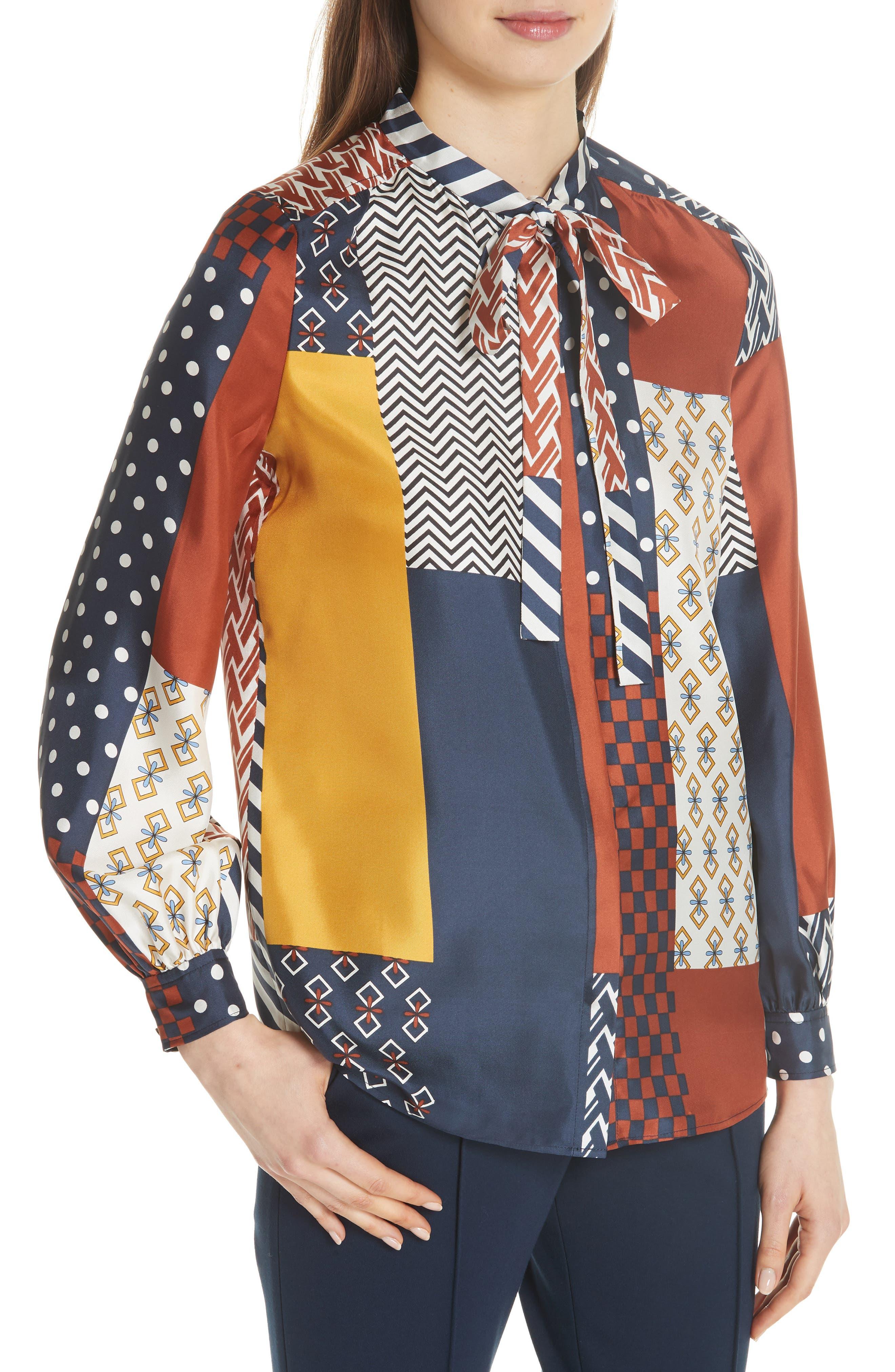 Vivian Patchwork Silk Top,                             Alternate thumbnail 4, color,                             466