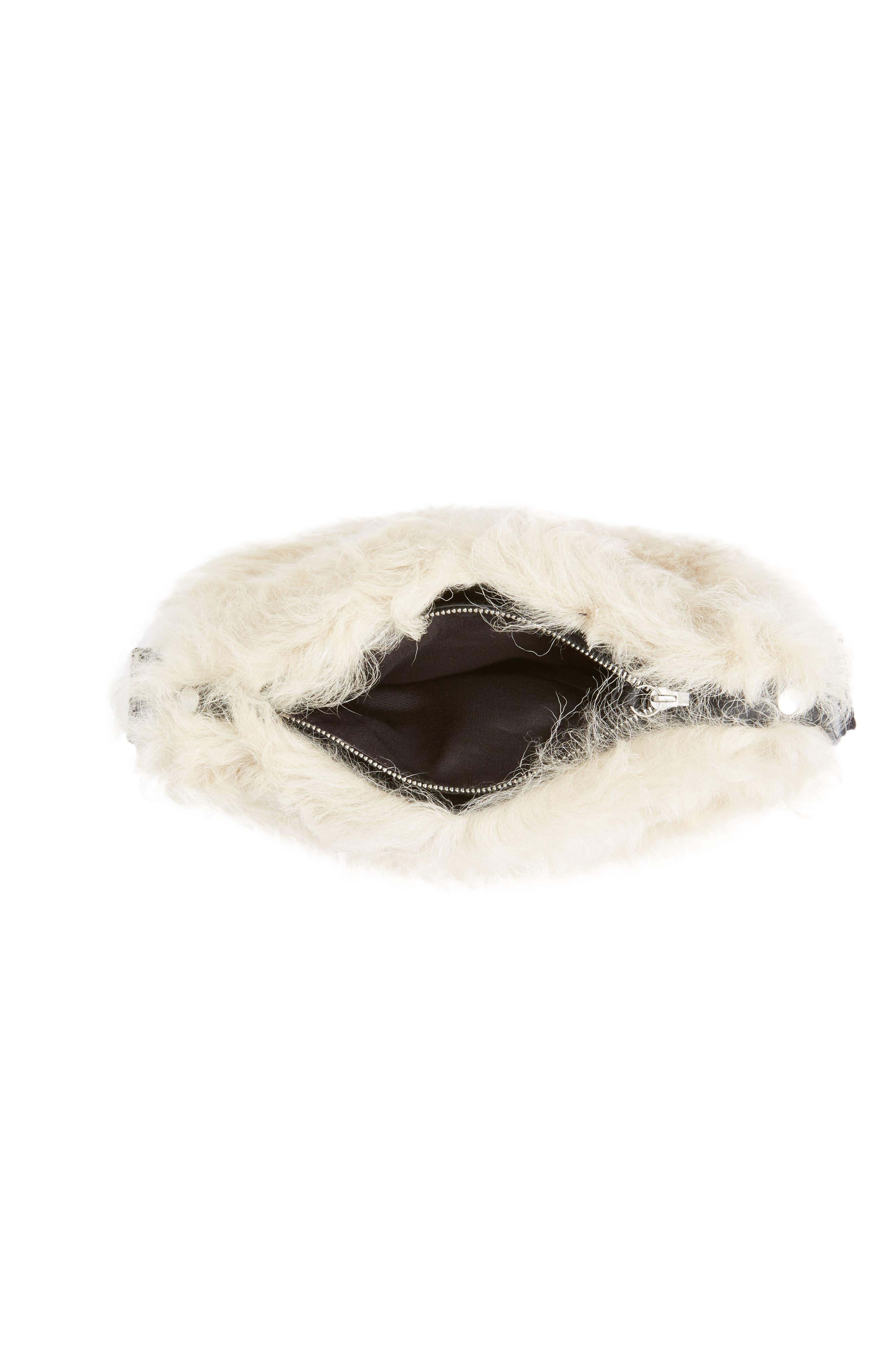 Mini Compass Genuine Shearling Crossbody Bag,                             Alternate thumbnail 3, color,