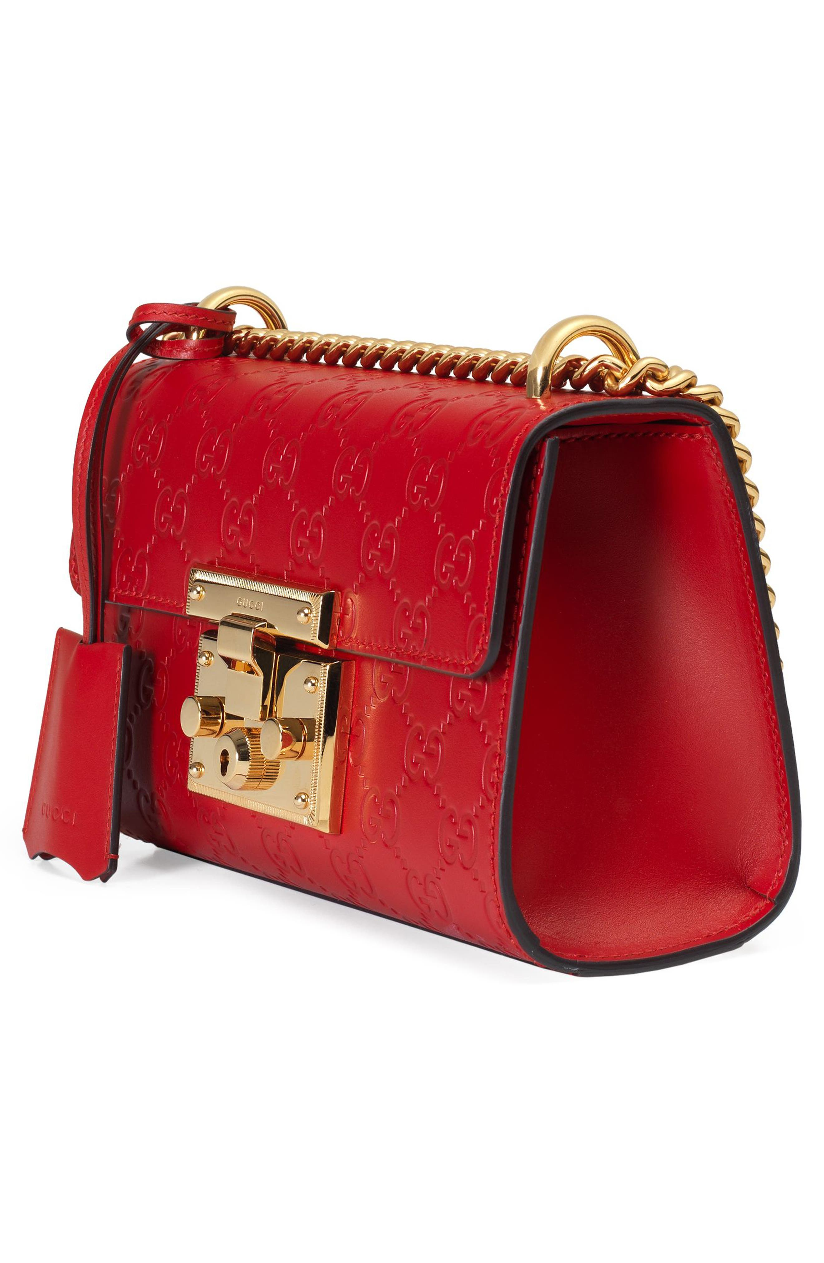 Small Padlock Signature Leather Shoulder Bag,                             Alternate thumbnail 4, color,                             HIBISCUS RED
