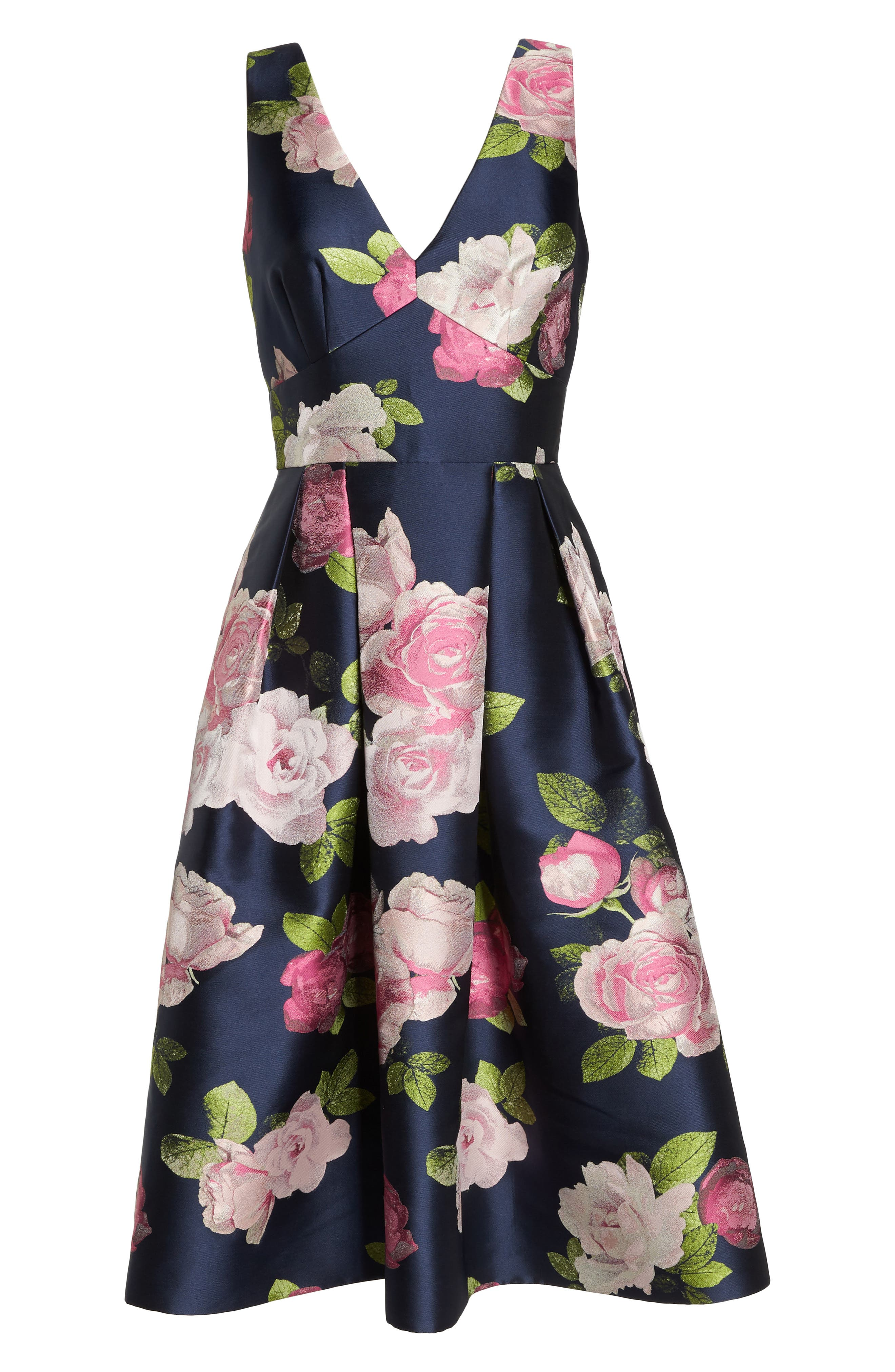 Sleeveless Floral Print Fit & Flare Dress,                             Alternate thumbnail 7, color,                             NAVY