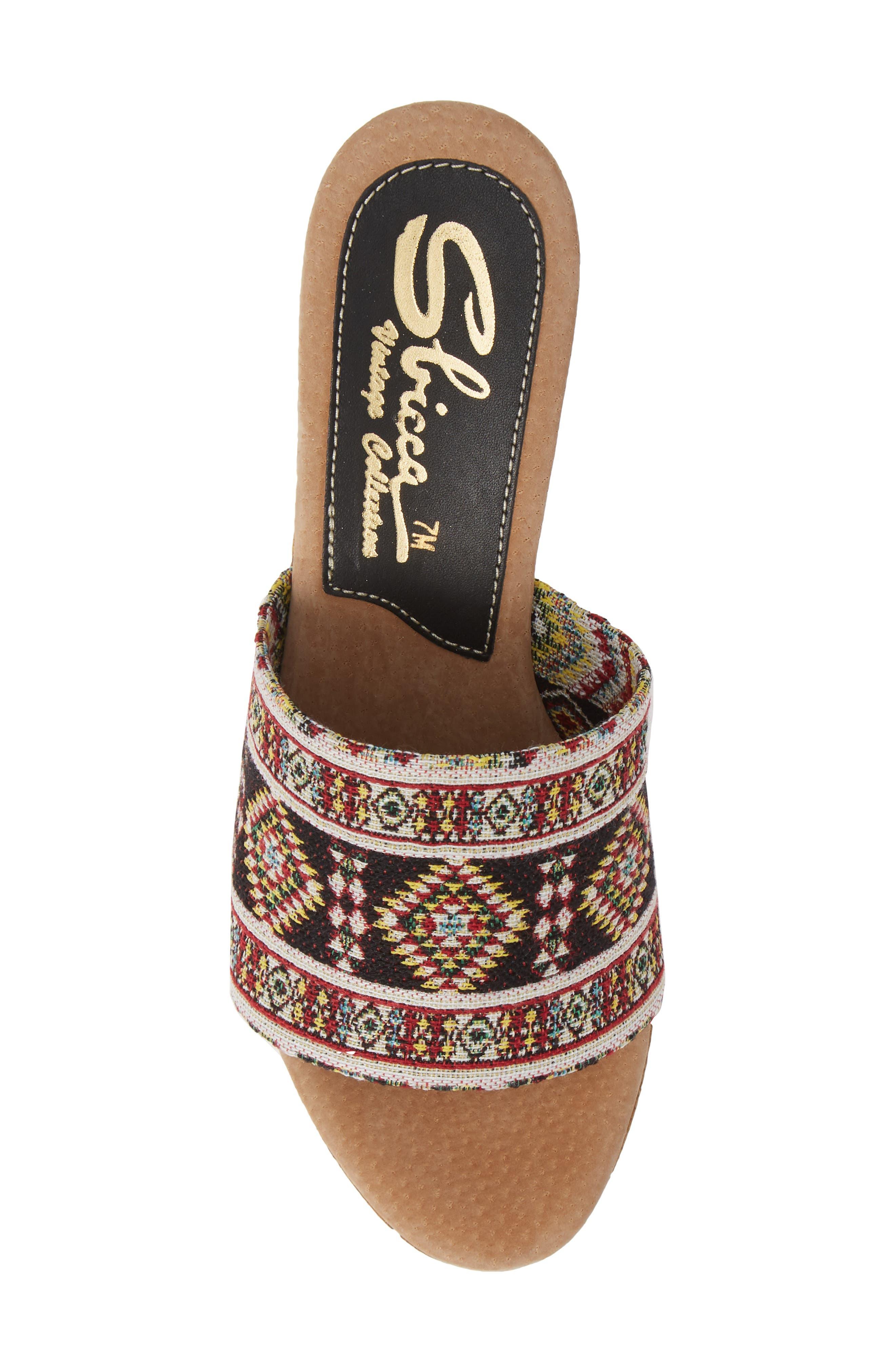 Orabela Platform Wedge Sandal,                             Alternate thumbnail 5, color,                             BLACK MULTICOLOR FABRIC