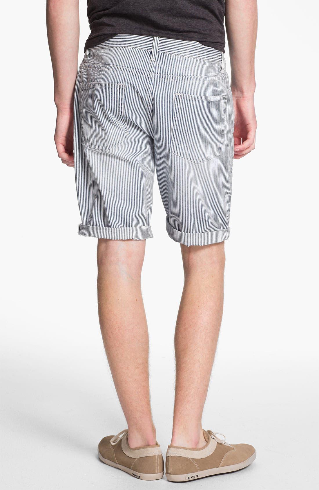 Slim Fit Stripe Denim Shorts,                             Alternate thumbnail 2, color,                             420