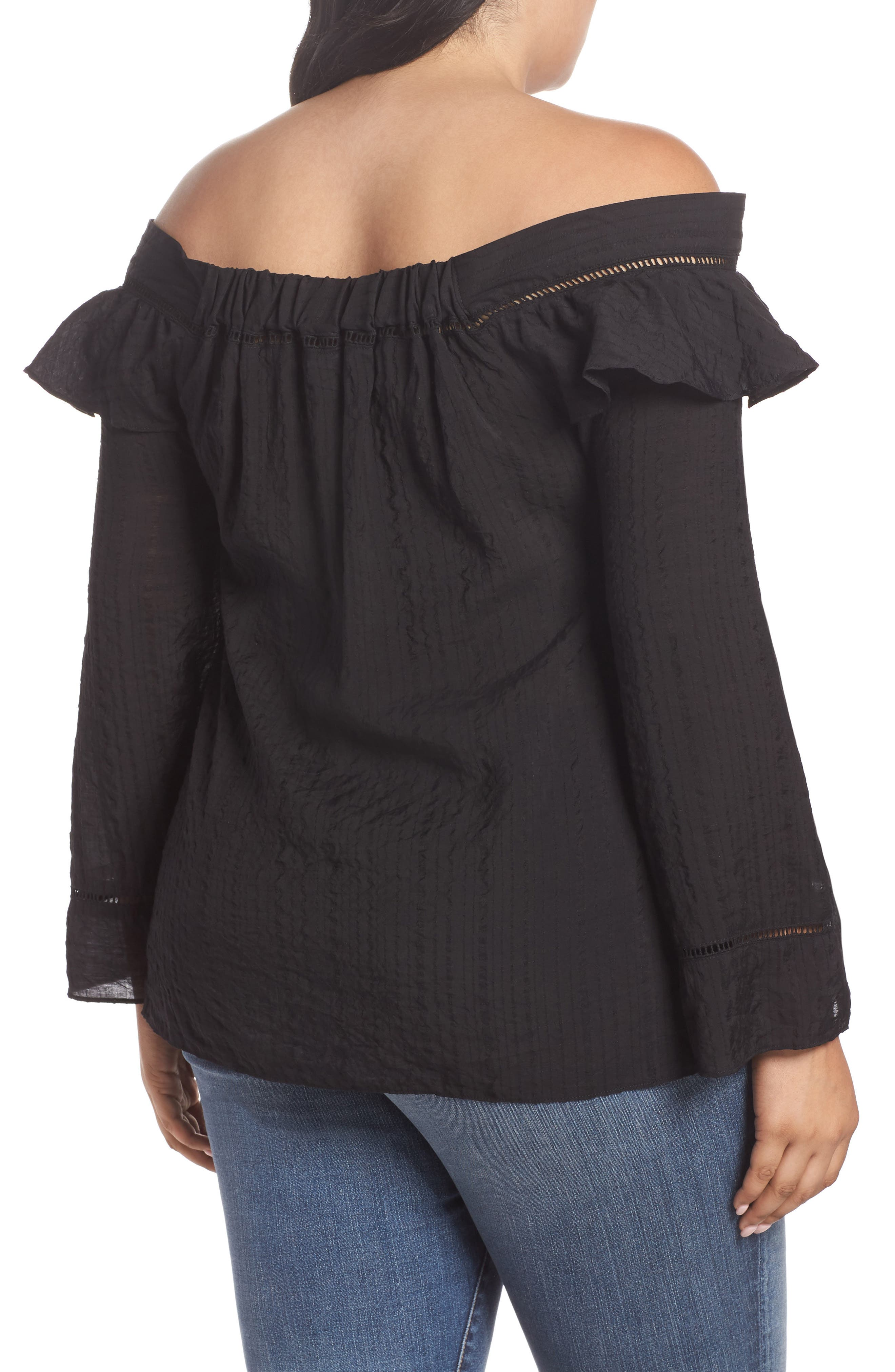 Ruffle Tie Off the Shoulder Top,                             Alternate thumbnail 2, color,                             001