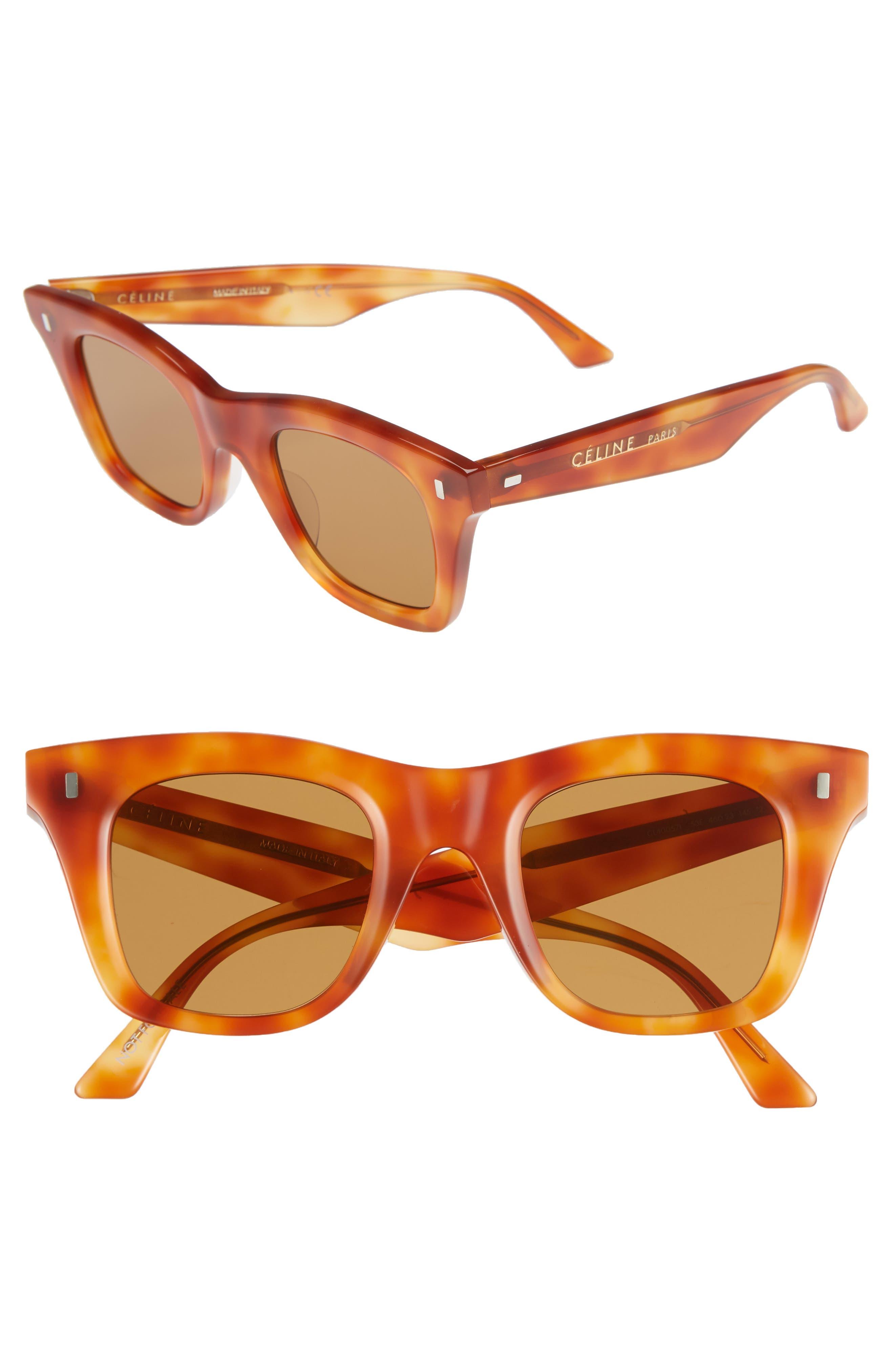 CELINE 46Mm Square Sunglasses - Orange Havana
