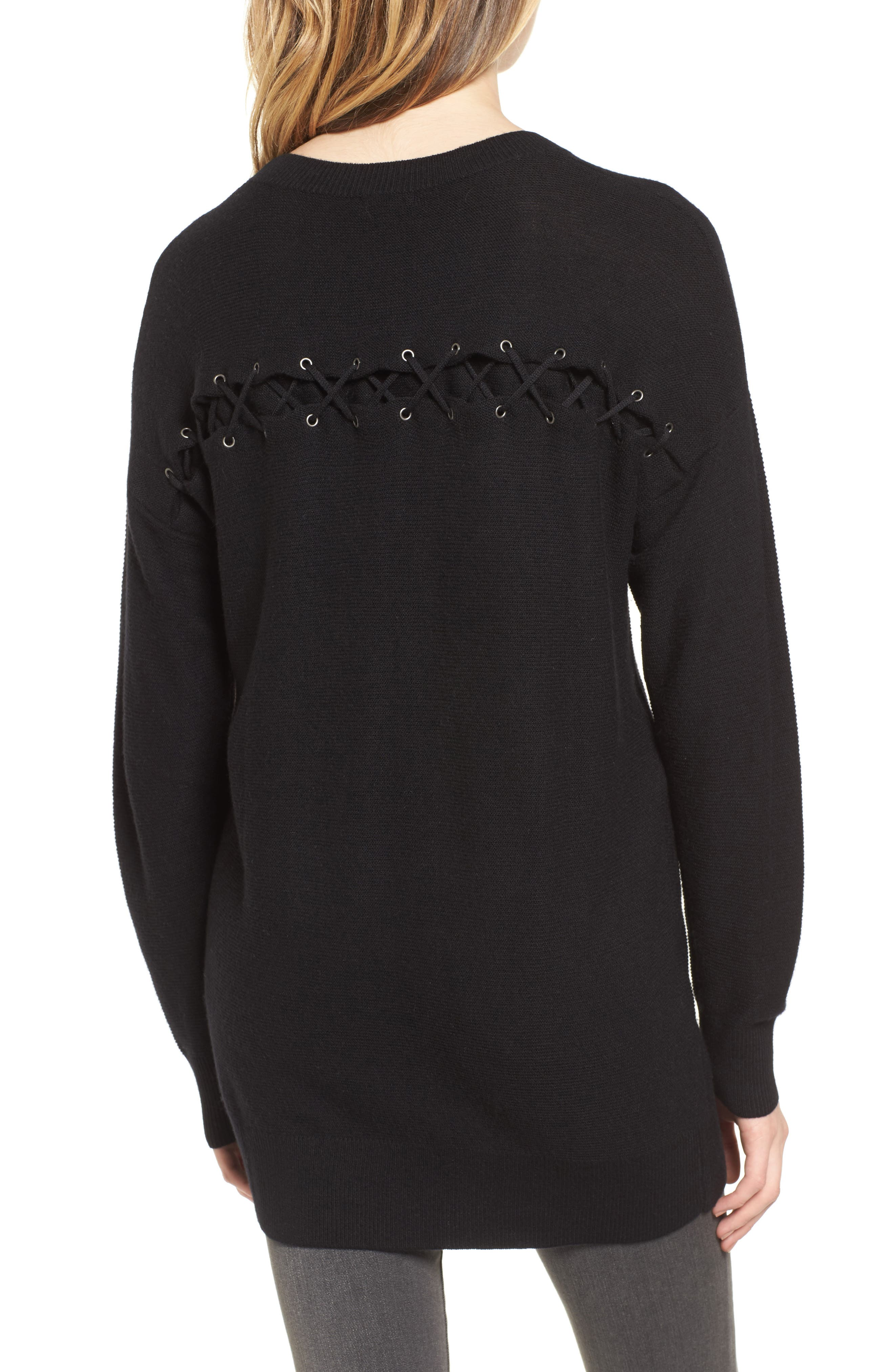 Laced Back Sweater,                             Alternate thumbnail 4, color,