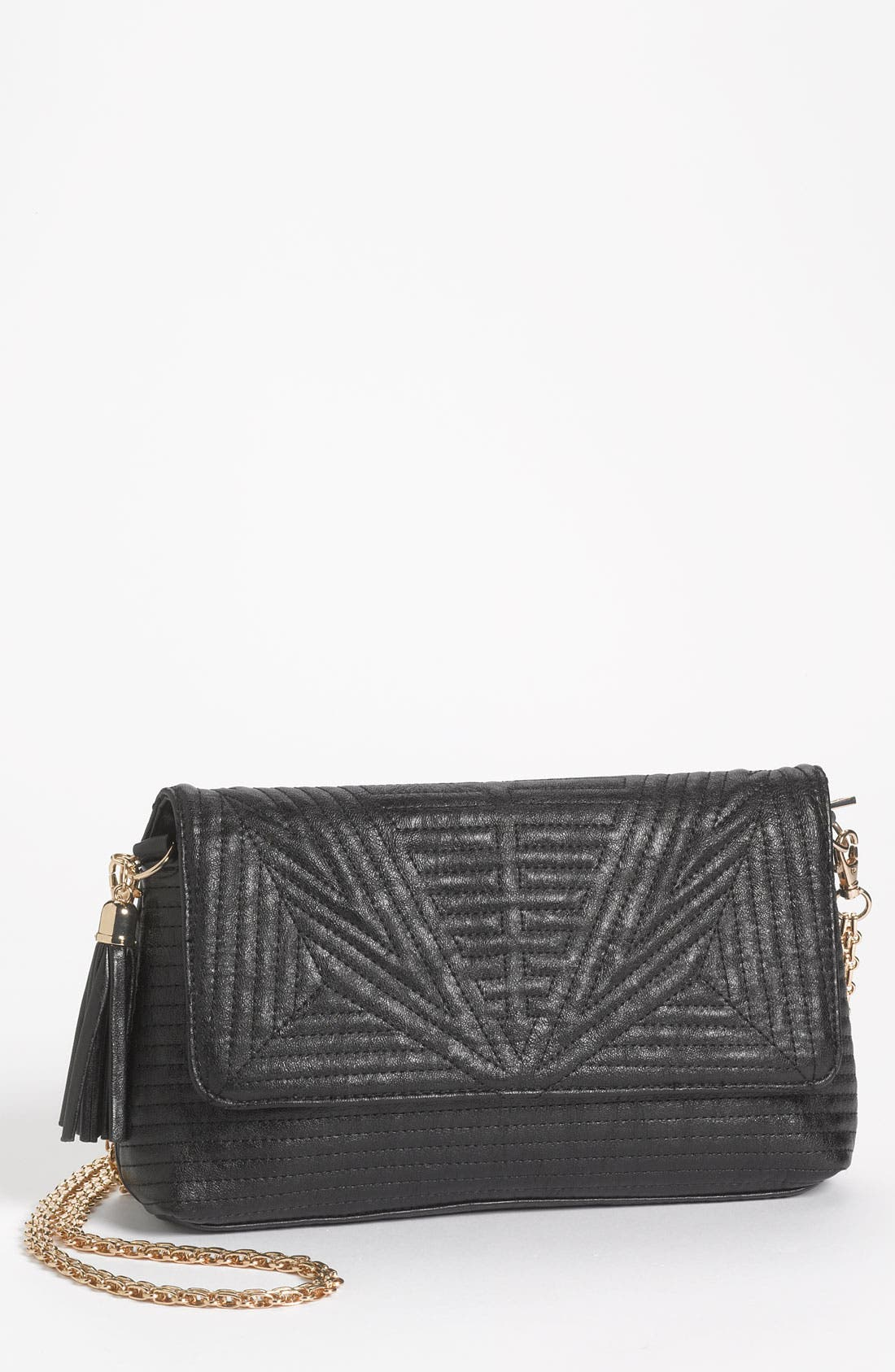 Quilted Faux Leather Convertible Clutch, Main, color, 001