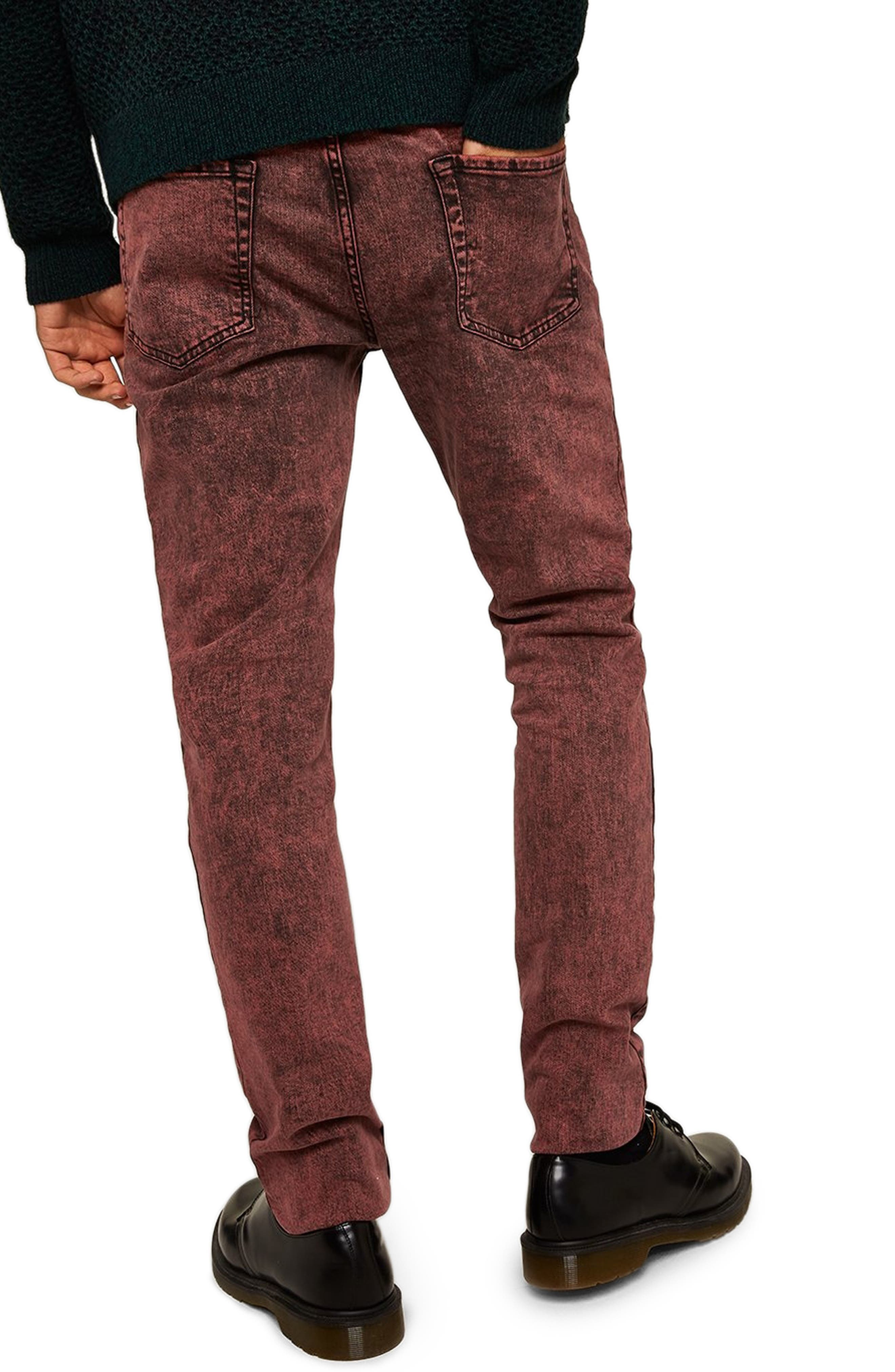 Acid Wash Stretch Skinny Jeans,                             Alternate thumbnail 2, color,                             RED