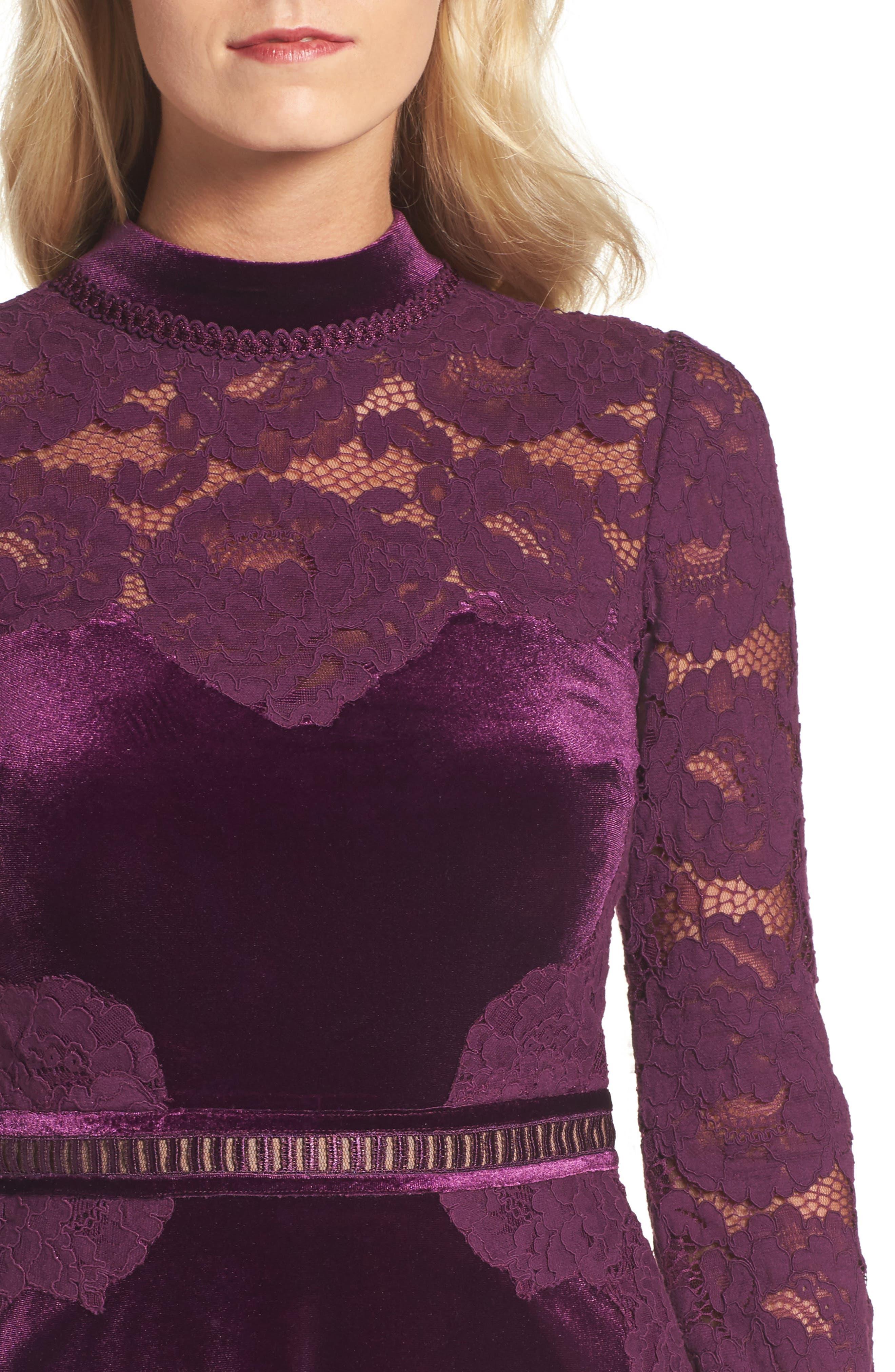 High Neck Lace & Velvet Cocktail Dress,                             Alternate thumbnail 4, color,                             572