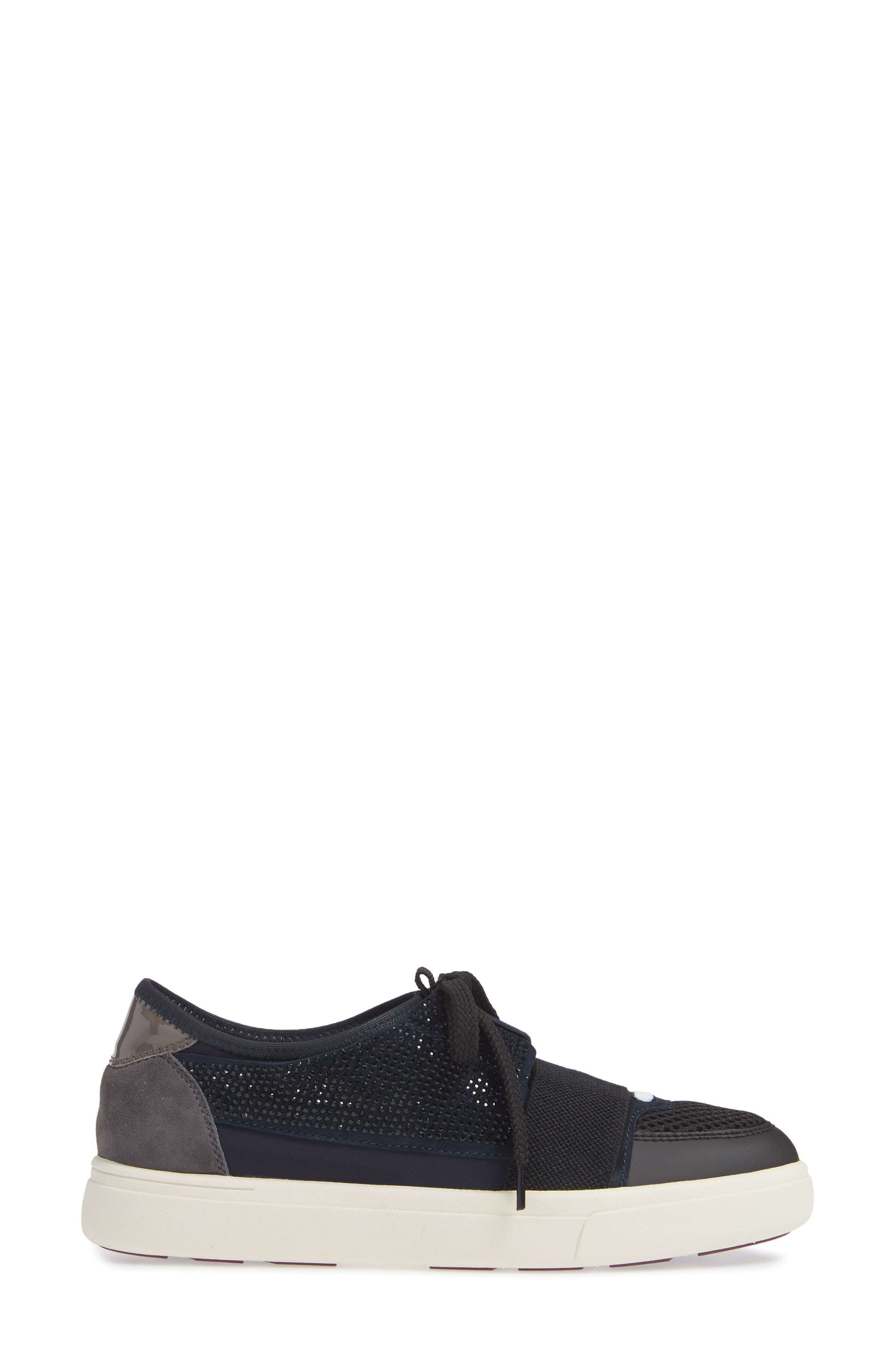 Onella Lace-Up Sneaker,                             Alternate thumbnail 3, color,                             BLACK/ NAVY/ GREY MULTI