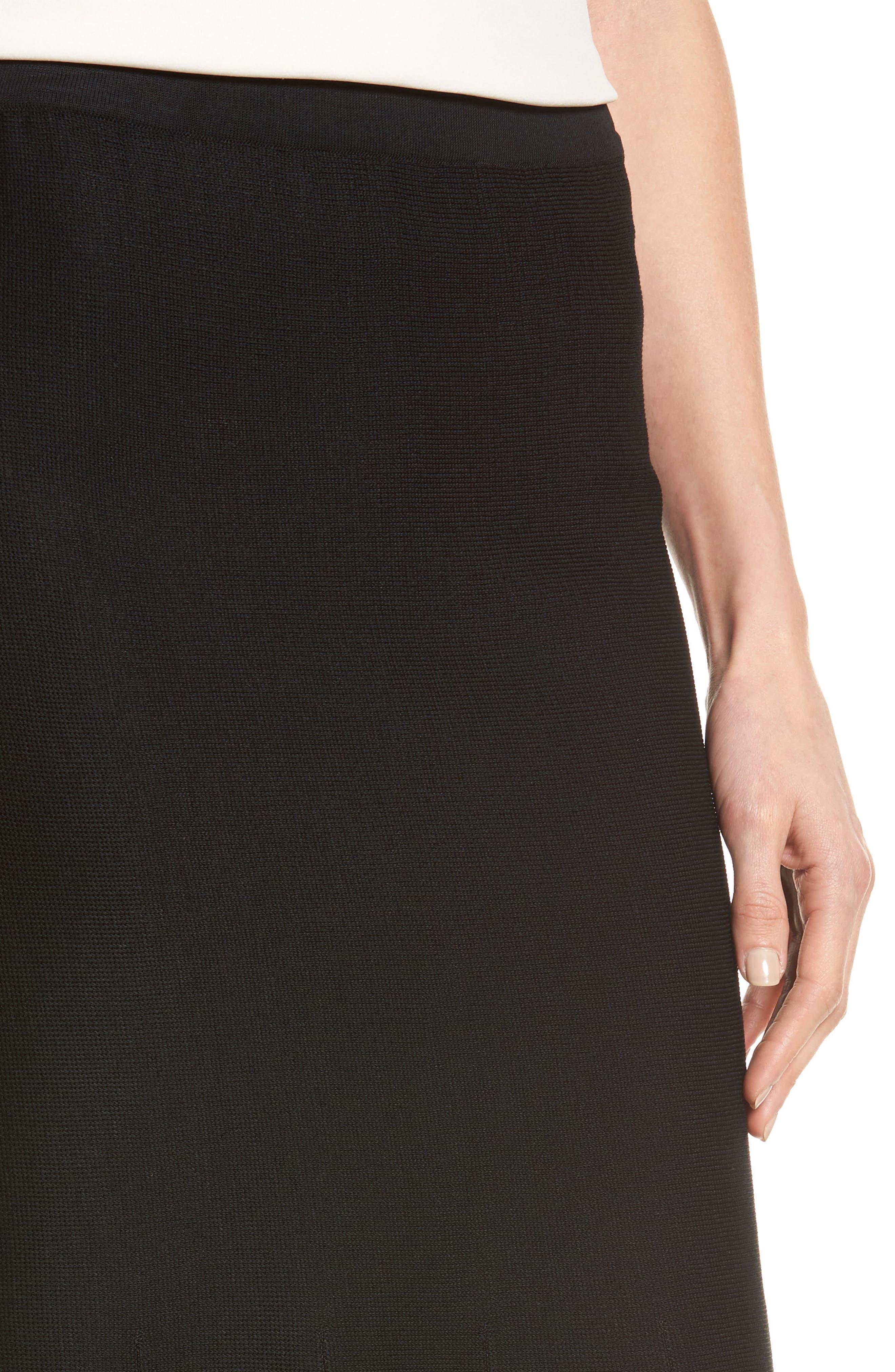 Knit Flared Skirt,                             Alternate thumbnail 4, color,                             BLACK