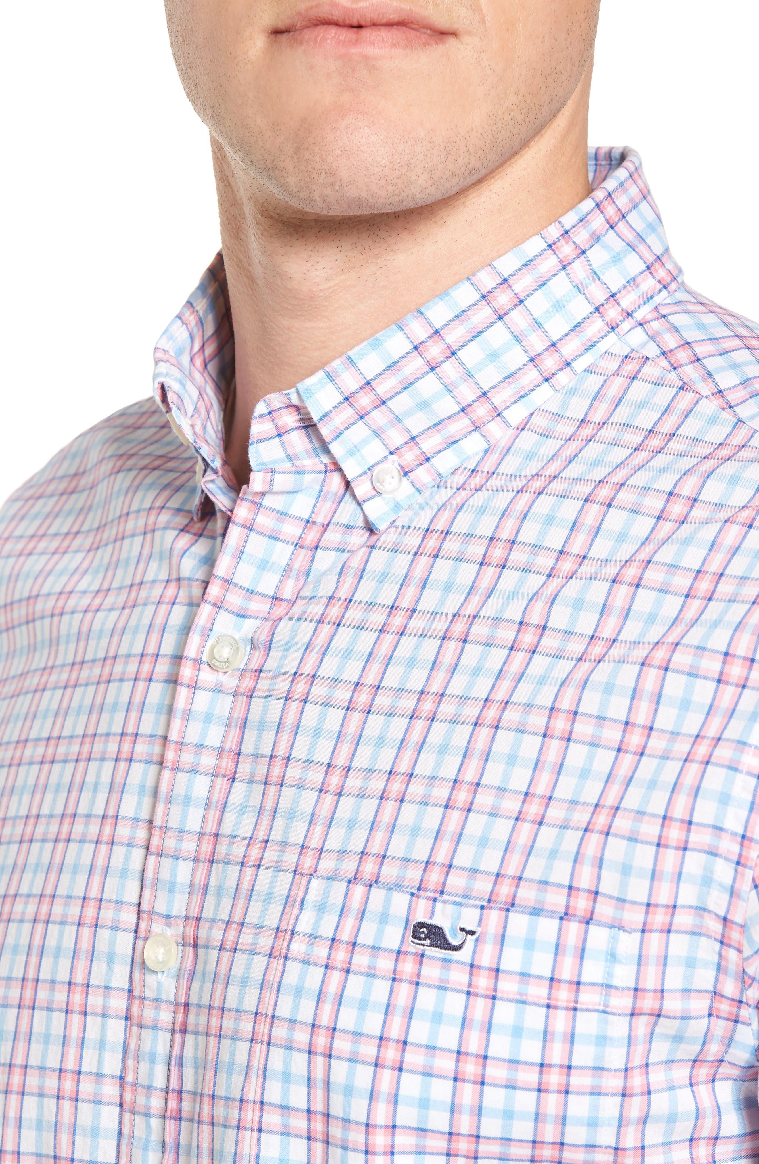 Kennard Tucker Slim Fit Plaid Sport Shirt,                             Alternate thumbnail 4, color,                             956