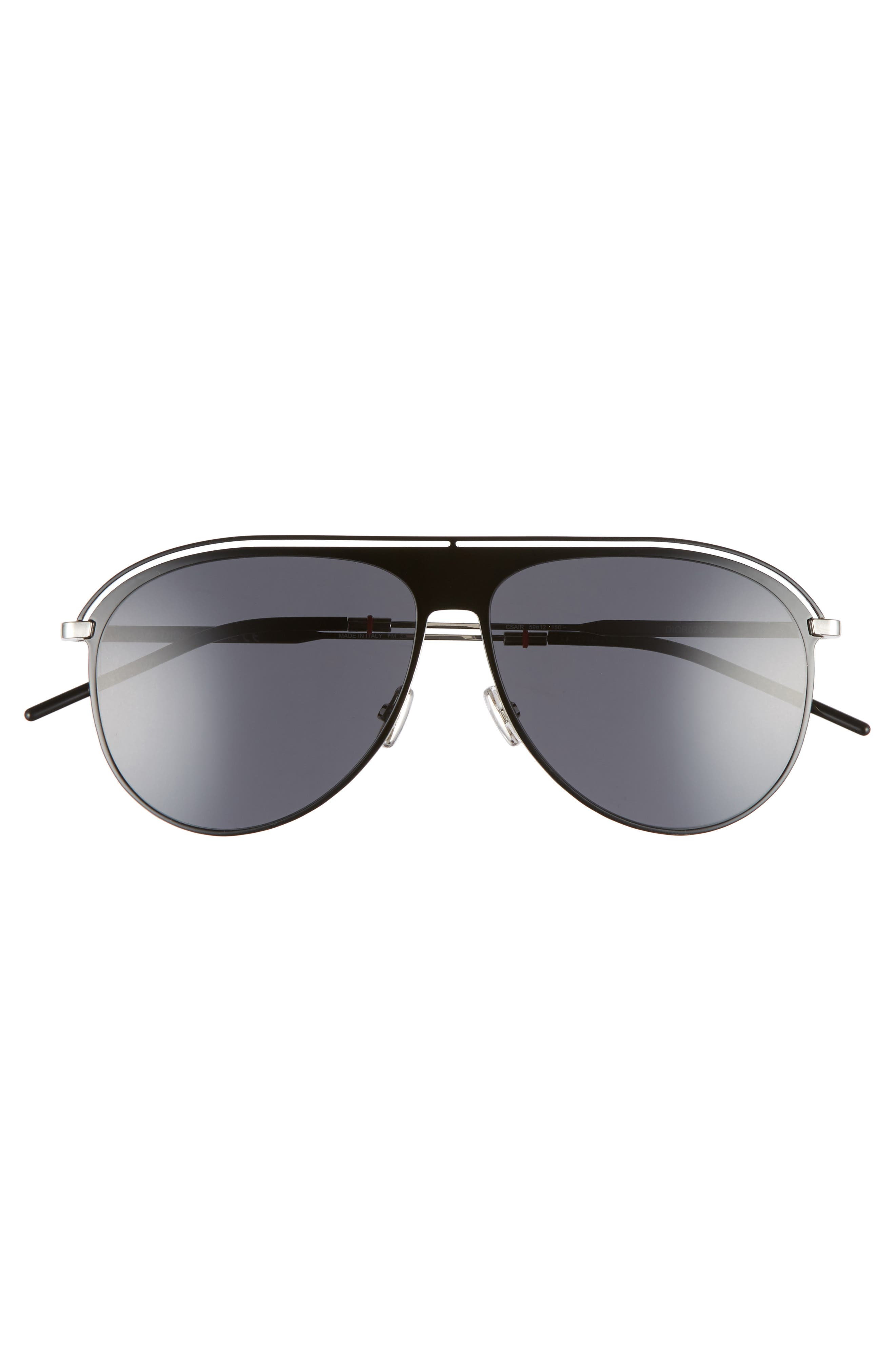 59mm Polarized Aviator Sunglasses,                             Alternate thumbnail 2, color,                             BLACK PALLADIUM
