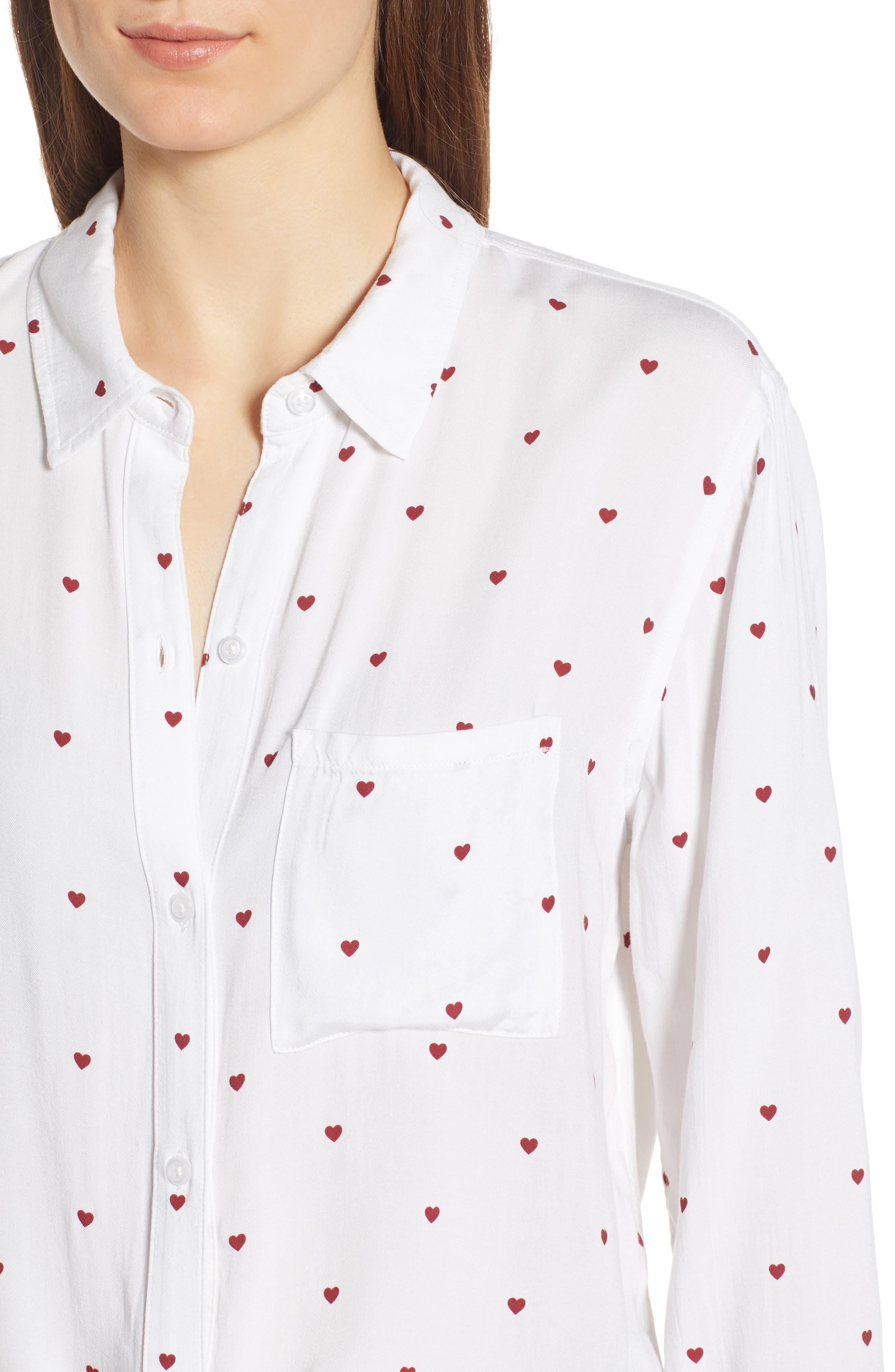 Rocsi Heart Print Shirt,                             Alternate thumbnail 4, color,                             WHITE RED HEARTS